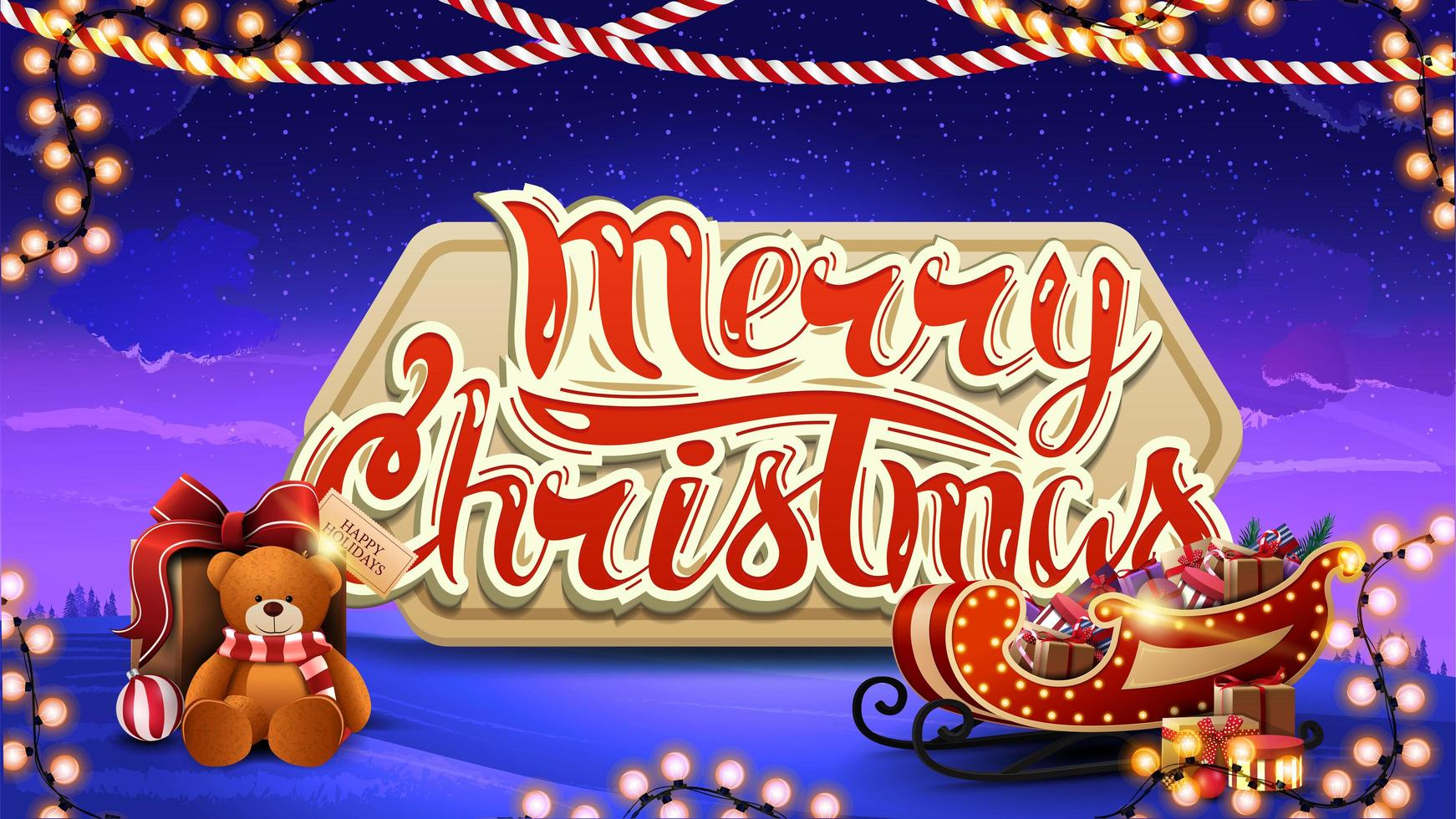 Merry christmas, blue postcard with volumetric large logo, winter landscape on background, and Santa Sleigh with presents vector