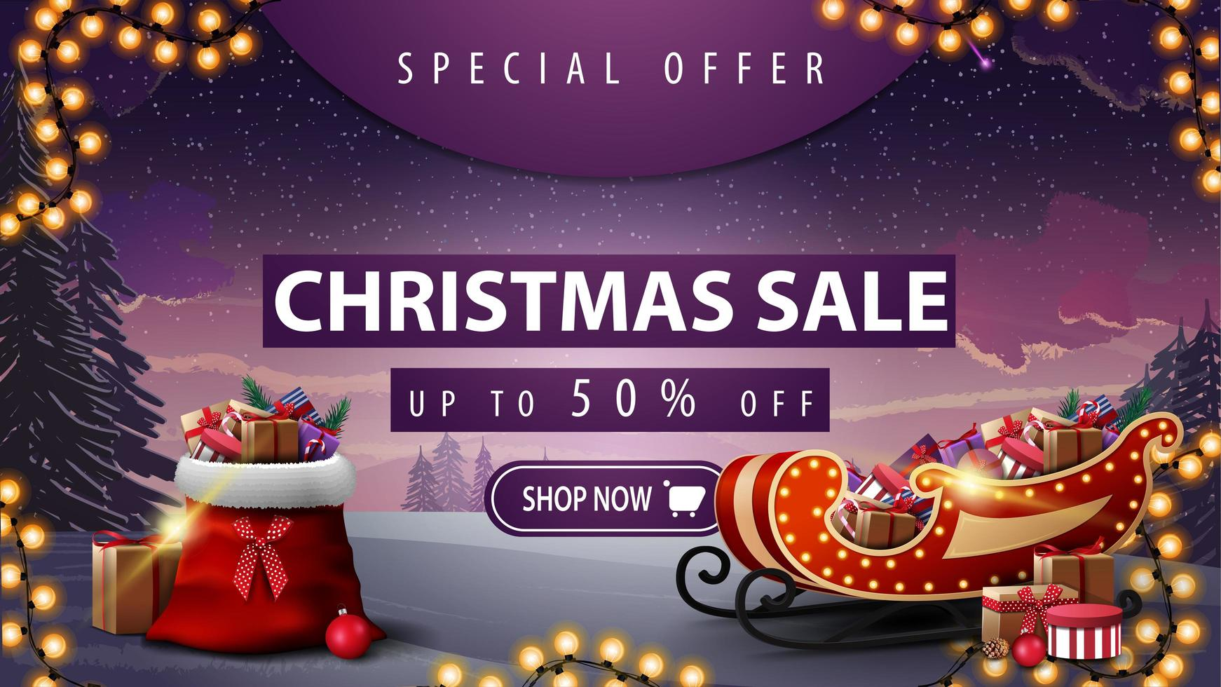 Special offer, Christmas sale, up to 50 off, beautiful discount banner with winter landscape, garland, button, Santa Claus bag and Santa Sleigh with presents vector