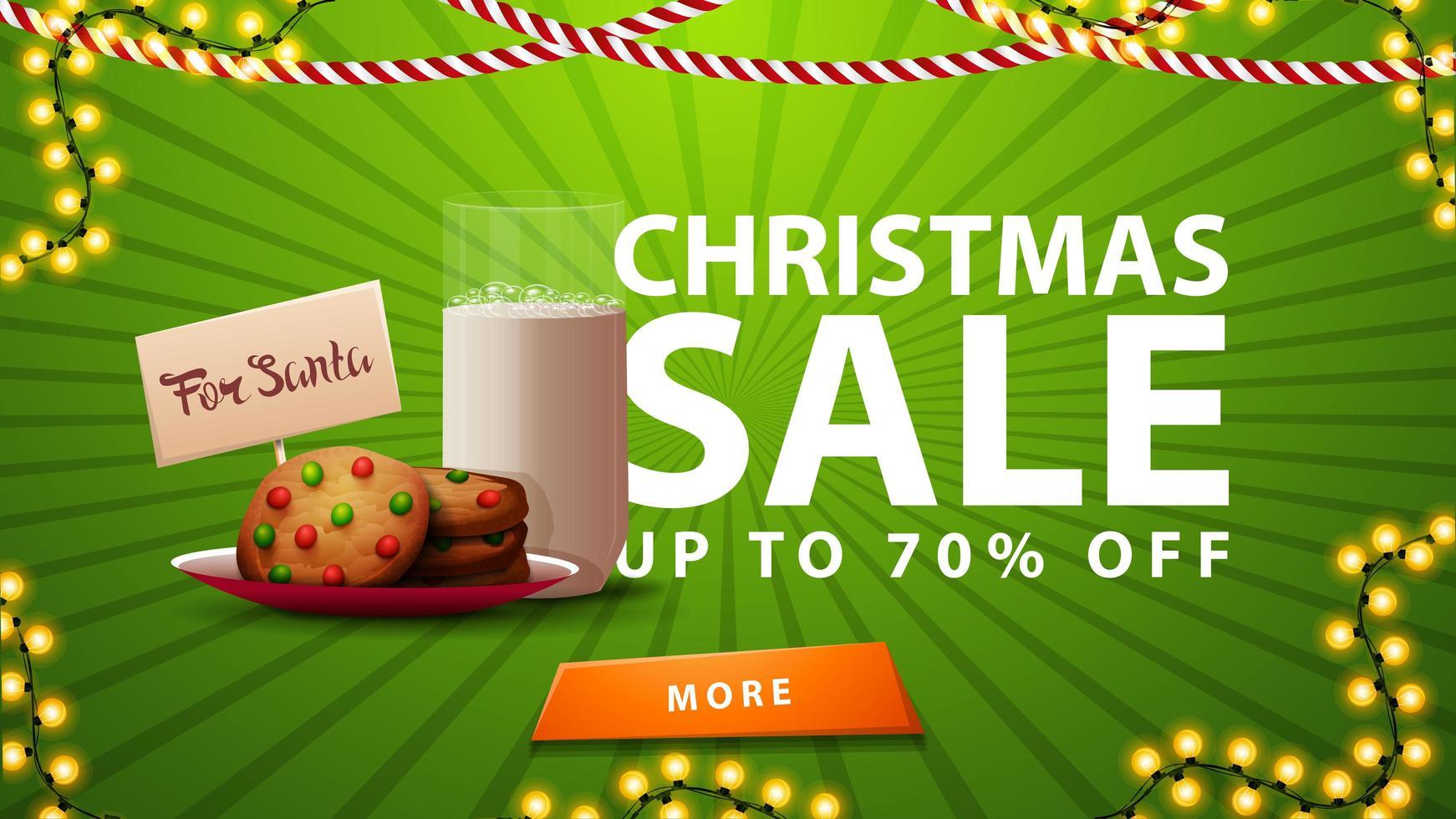 rebajas navideñas, hasta 70 de descuento, estandarte verde con guirnalda, botón y galletas con un vaso de leche para santa claus vector