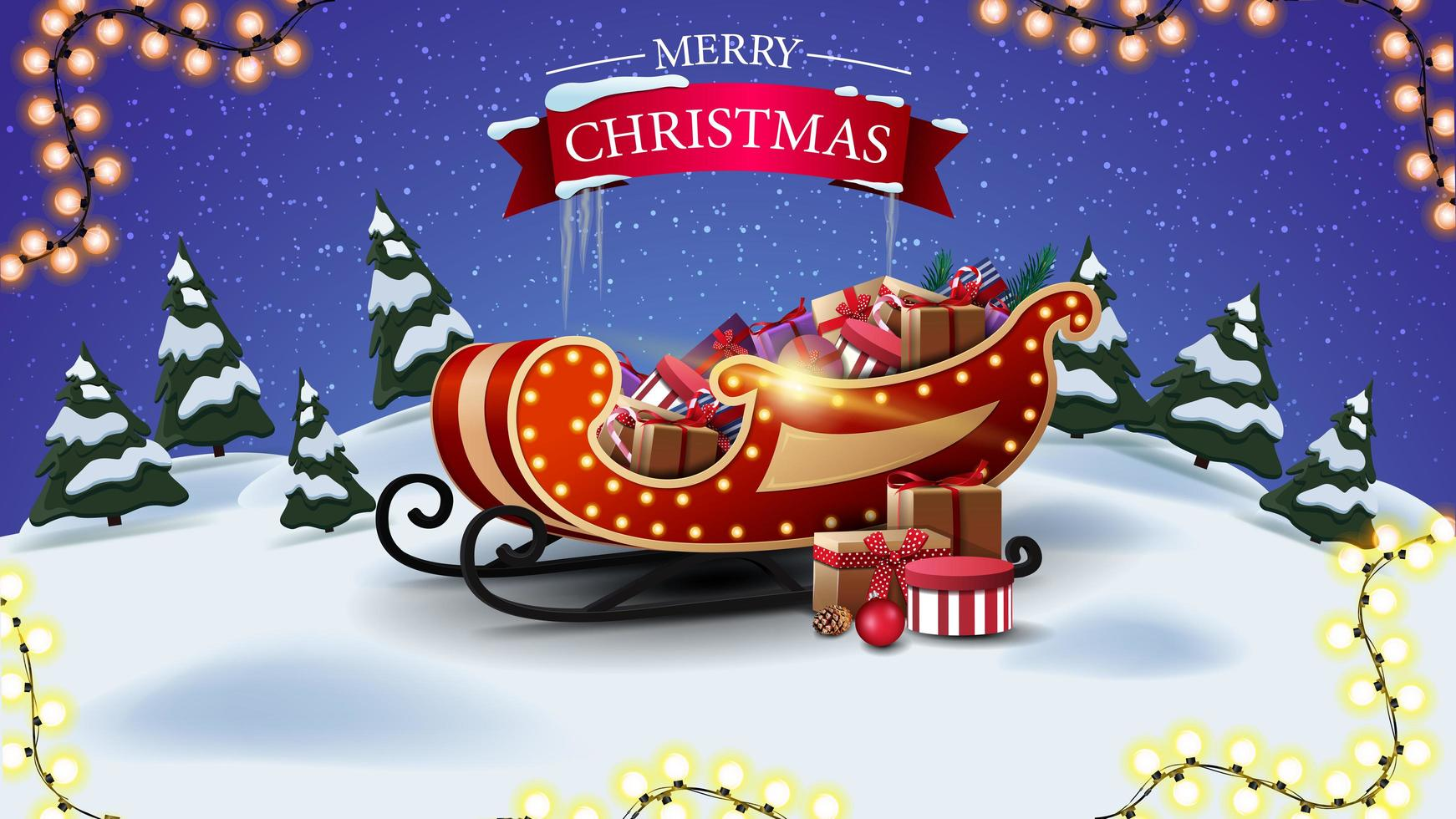 Merry Christmas, postcard with cartoon winter landscape and Santa sleigh with presents vector