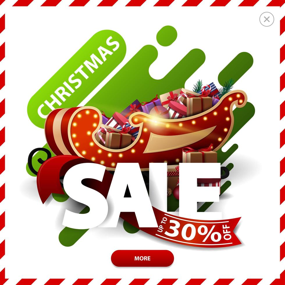 Christmas sale, up to 30 off, red and green discount pop up with abstract liquid shapes large volumetric letters, ribbon, button and present with Teddy bear vector