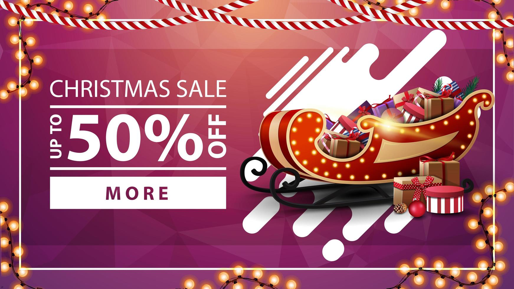 Christmas sale, up to 50 off, pink discount banner with garlands, button and Santa Sleigh with presents vector