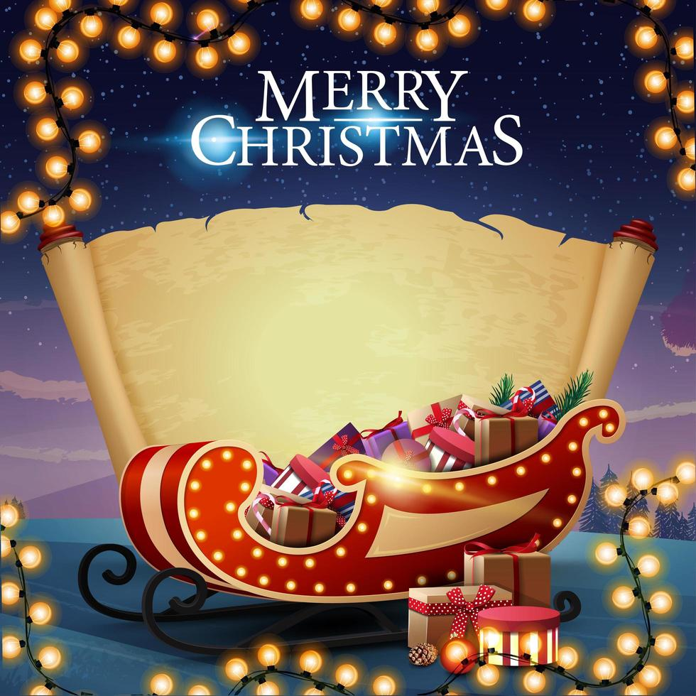 Merry Christmas, postcard with old blank parchment, beautiful landscape on the background and Santa Sleigh with presents vector