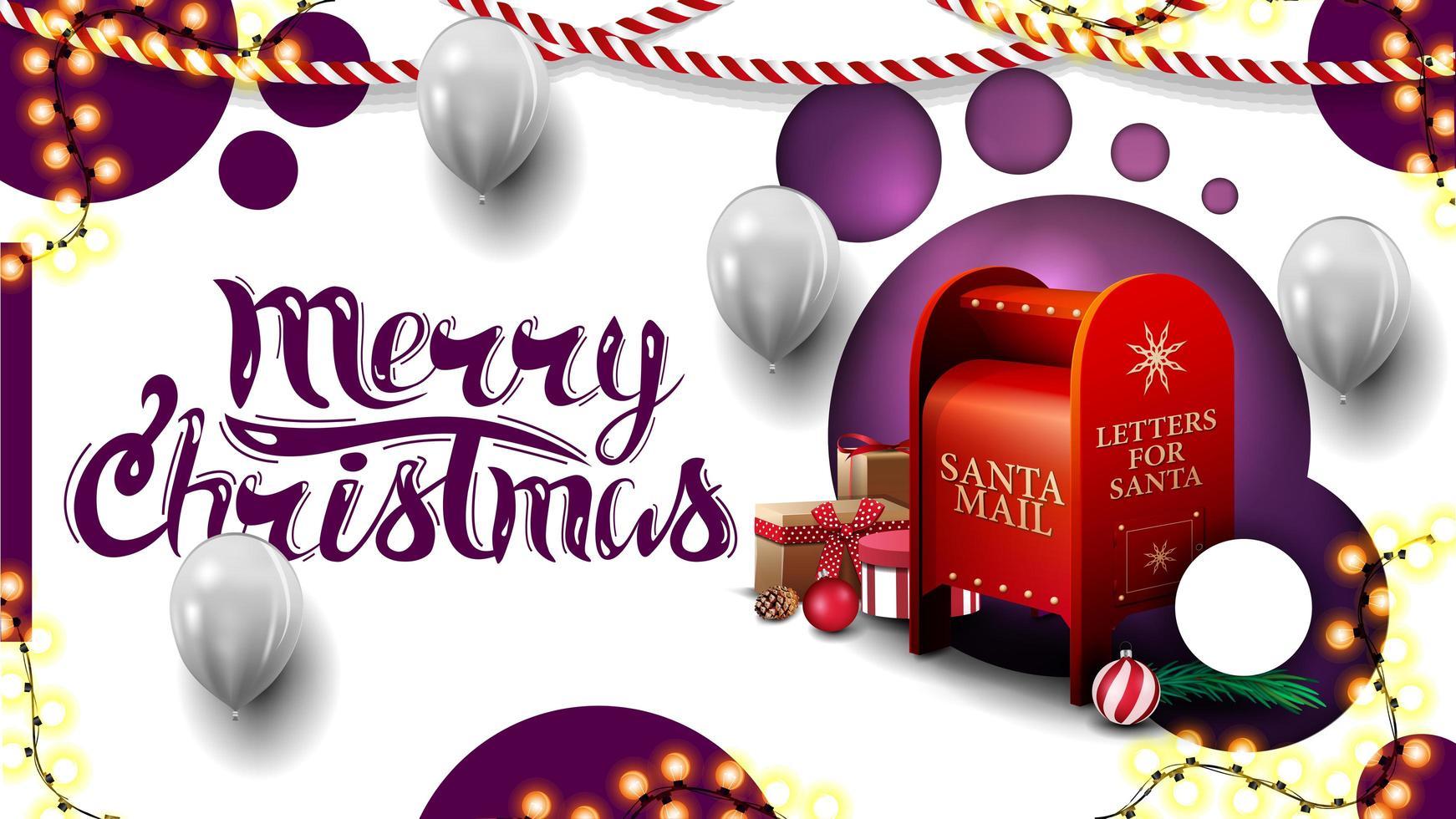 feliz navidad, postal blanca con diseño moderno con círculos morados y buzón de santa con regalos vector