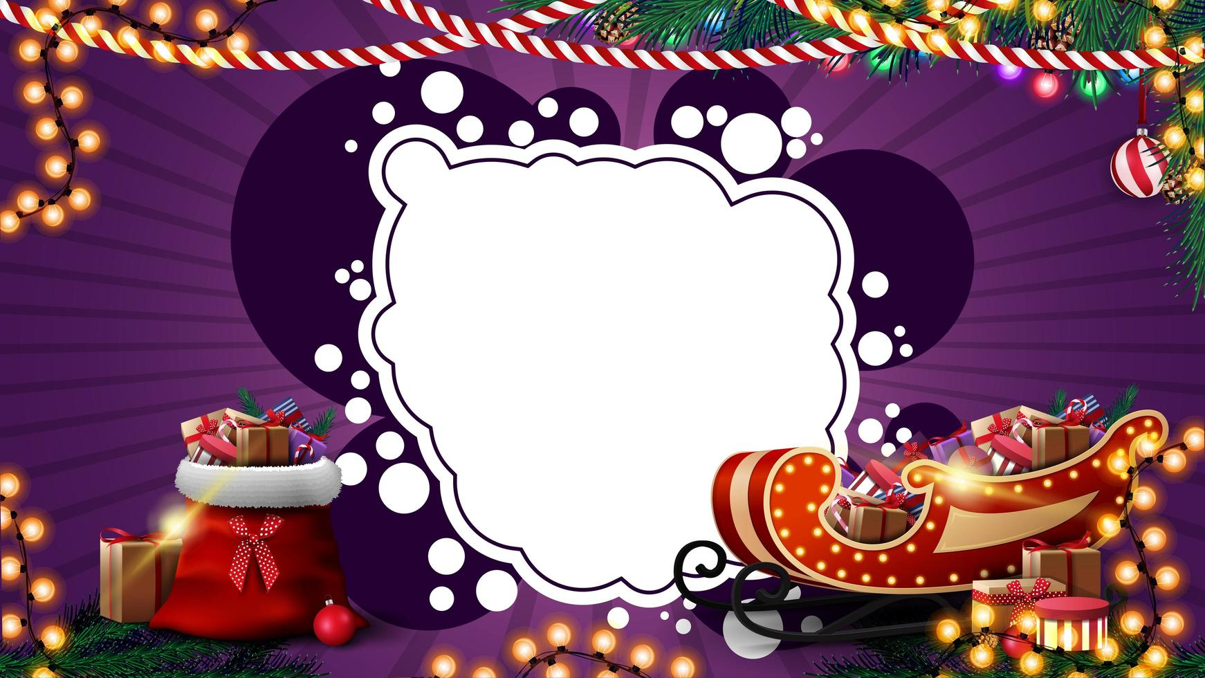 Purple Christmas template for postcard or discount with garlands, white abstract cloud for your text, Santa Claus bag and Santa Sleigh with presents vector