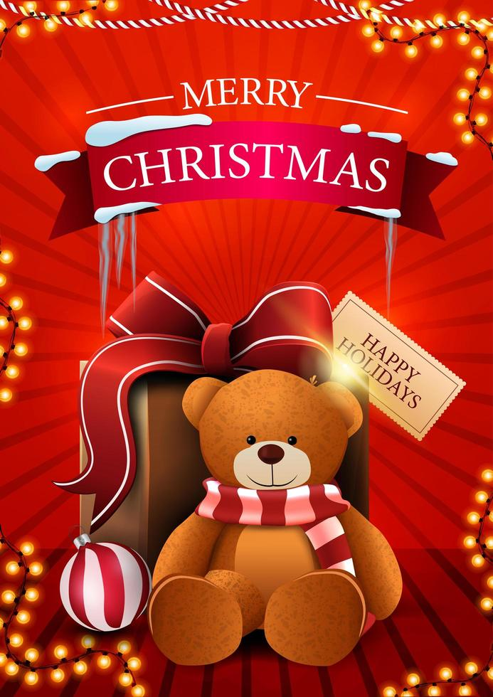 Merry Christmas, red vertical postcard with garland and present with Teddy bear vector