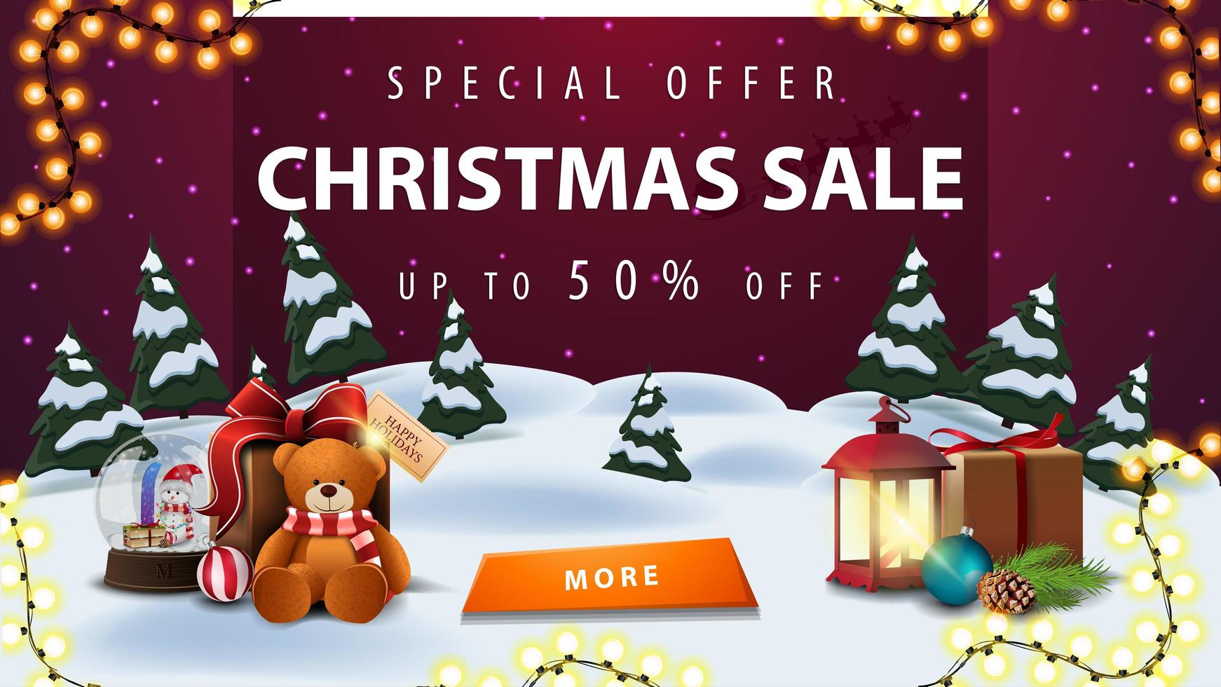 Special offer, Christmas sale, up to 50 off, discount banner with winter landscape, purple starry sky, garland, button, antique lamp, snow globe and present with Teddy bear vector