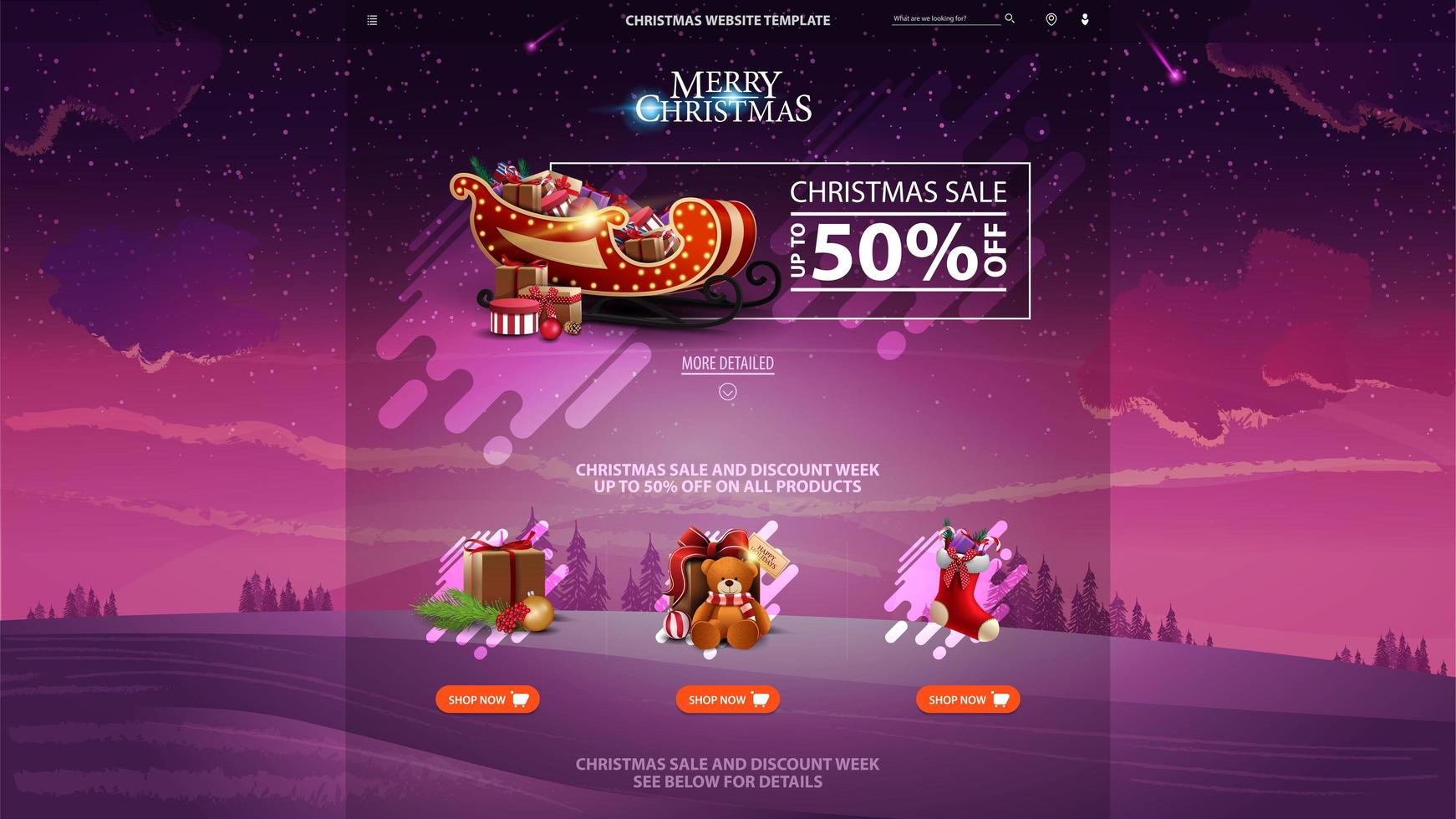 Christmas sale design website template with discount banner, beautiful icons and winter landscape on the background vector