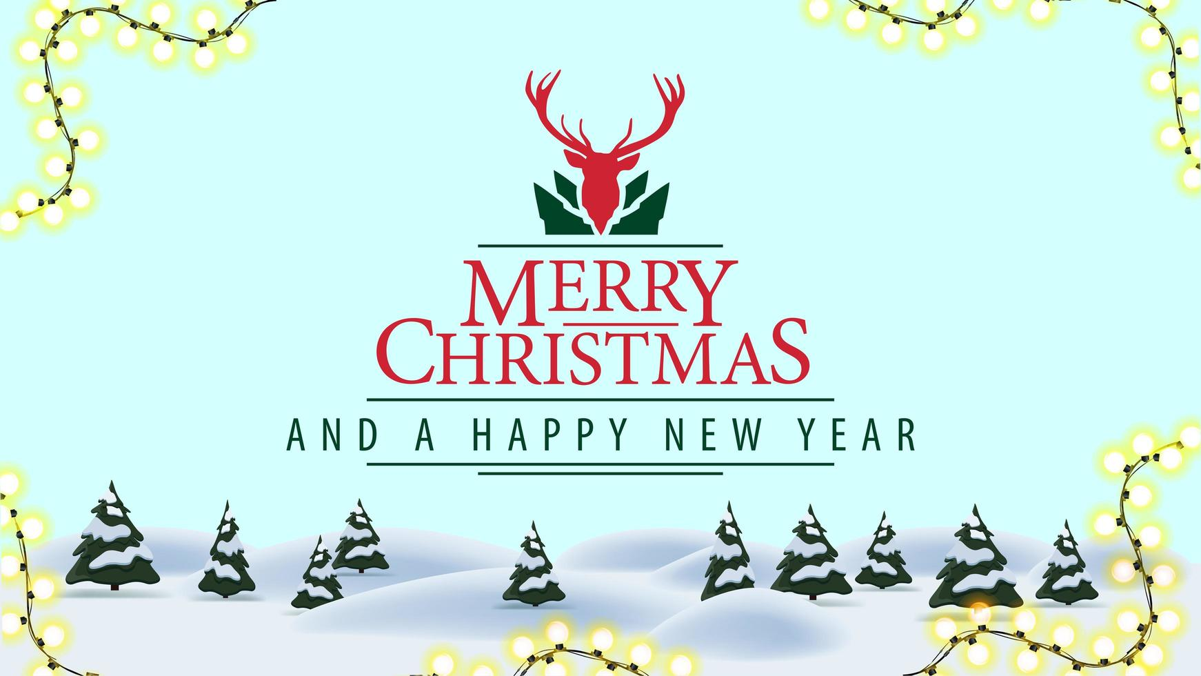 Merry Christmas and happy New Year, postcard with cartoon winter landscape and beautiful greeting logotype with deer vector