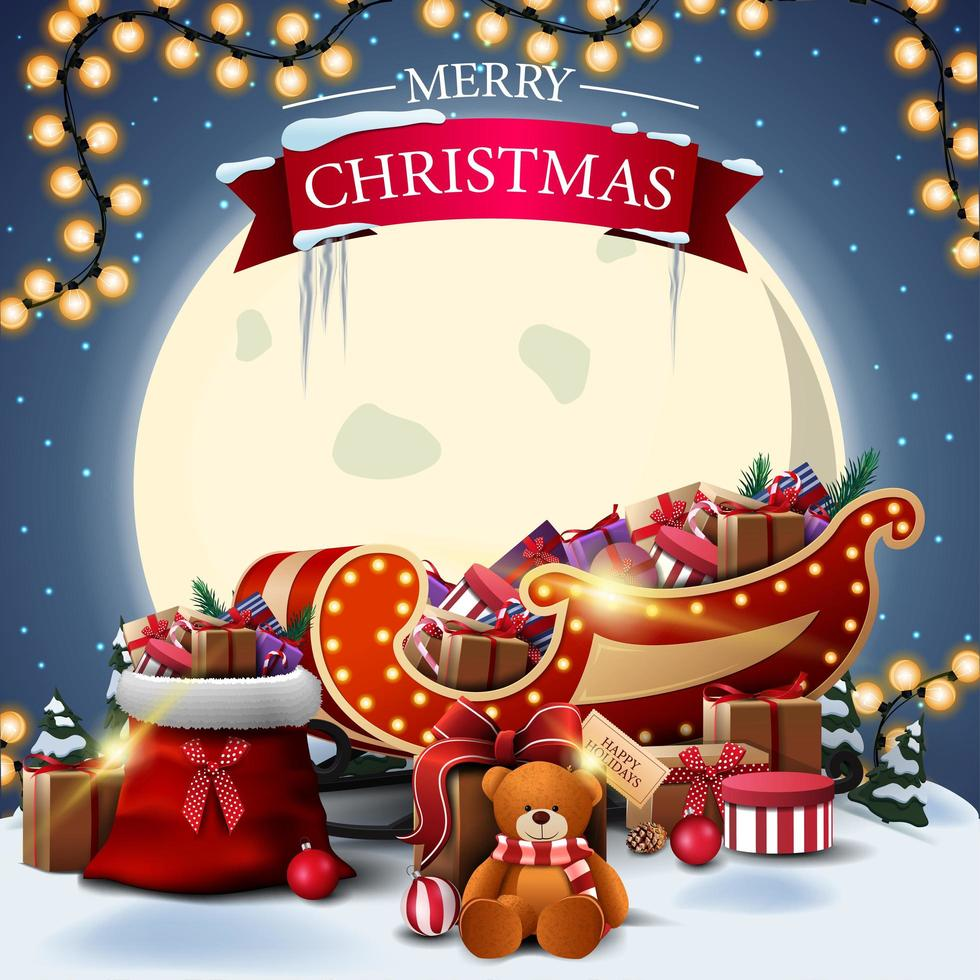 Merry Christmas, square postcard with winter landscape, big yellow moon, Santa Claus bag and Santa Sleigh with presents vector