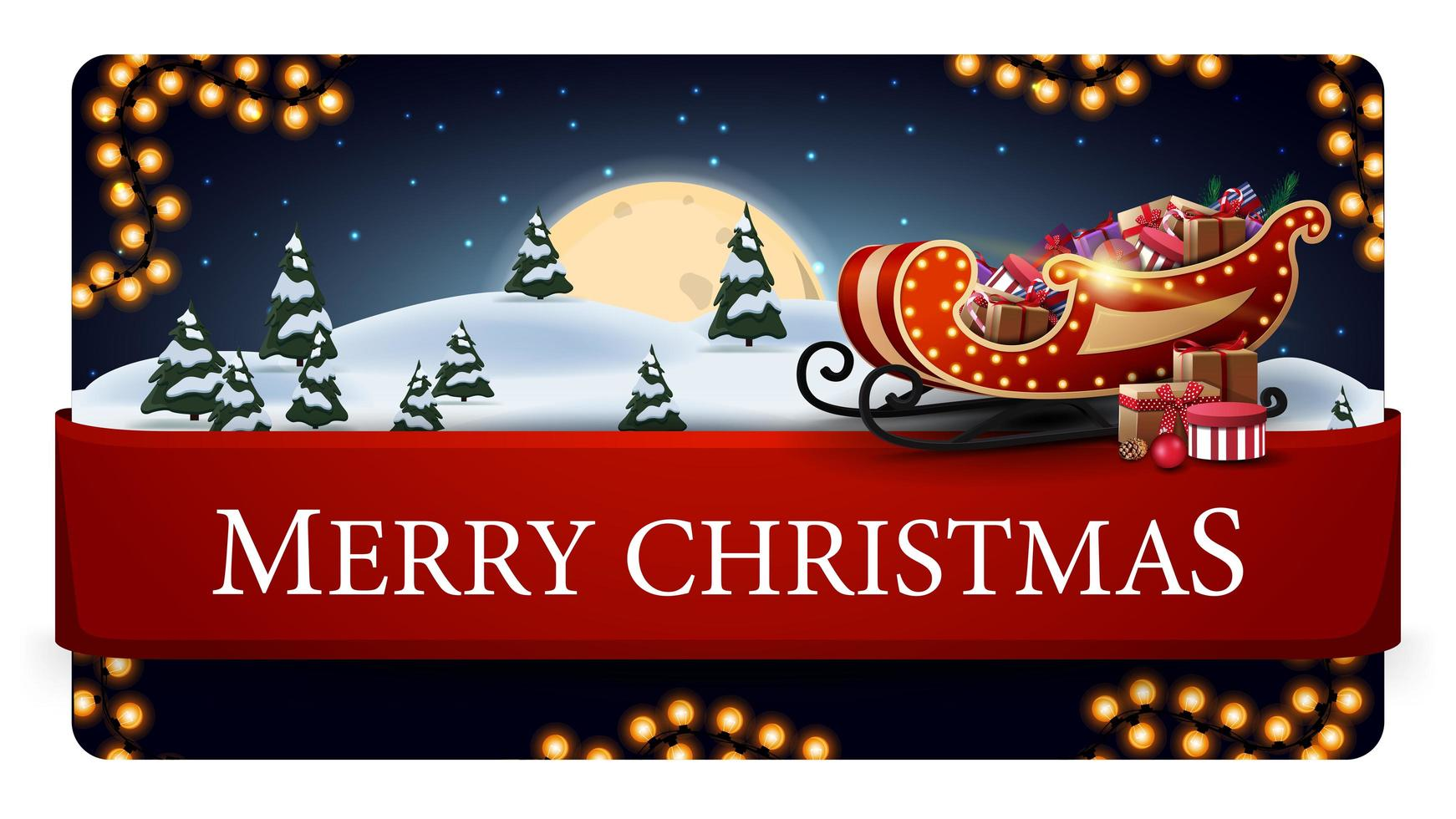 Merry Christmas, blue postcard with beautiful winter landscape, big full moon, garland, red horizontal ribbon with offer and Santa Sleigh with presents vector