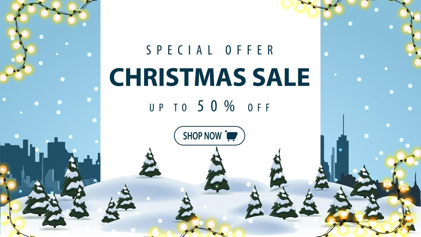 Special offer, Christmas sale, up to 50 off, discount banner with winter landscape and silhouette city on background vector