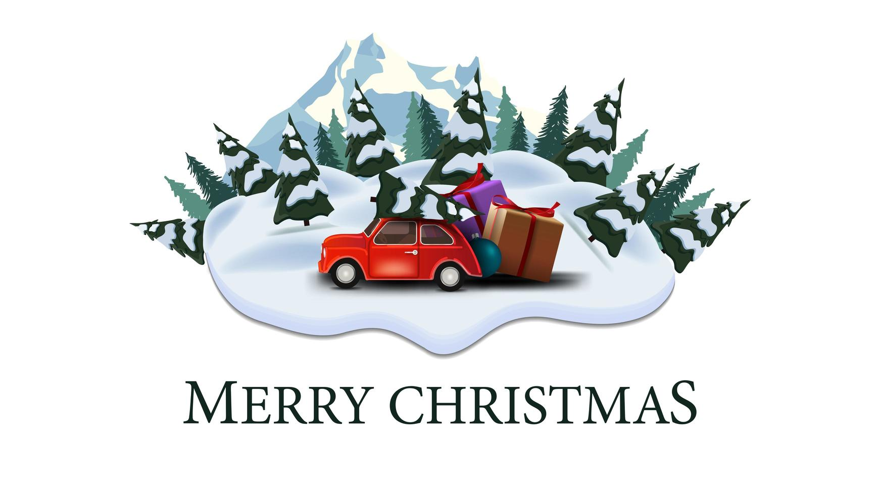 Merry Christmas, modern postcard with pines, drifts, mountain and red vintage car carrying Christmas tree vector