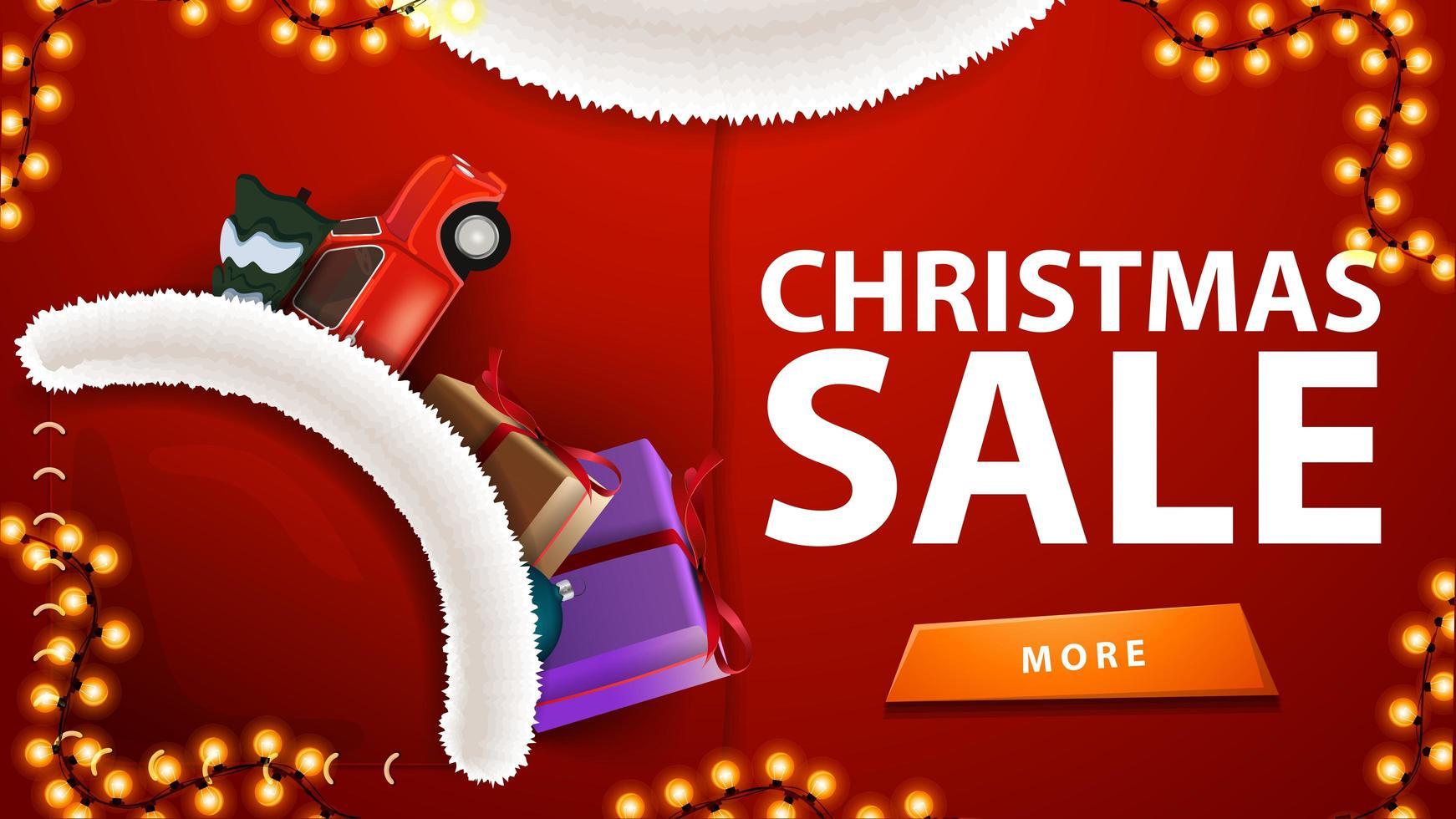 Venta de Navidad, banner de descuento rojo en forma de traje de Papá Noel con coche rojo de época con árbol de Navidad en el bolsillo vector