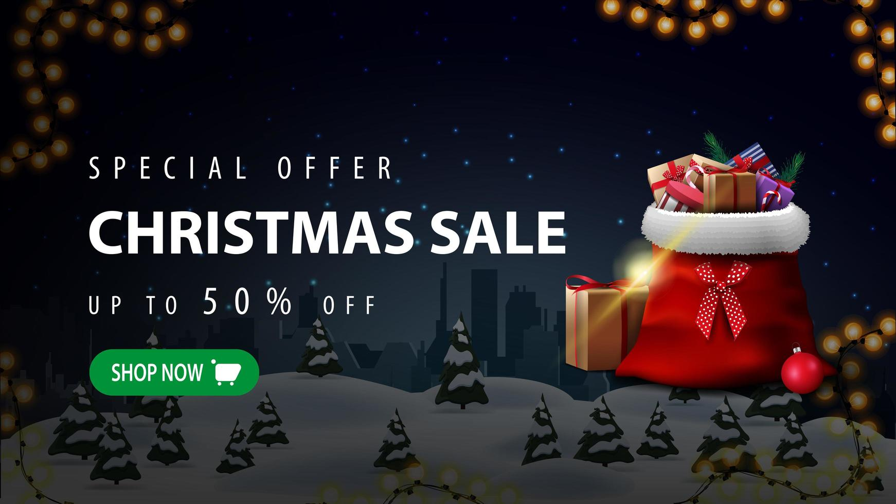Special offer, Christmas sale, up to 50 off, beautiful discount banner with night winter landscape, silhouette city on horizontal and Santa Sleigh with presents vector