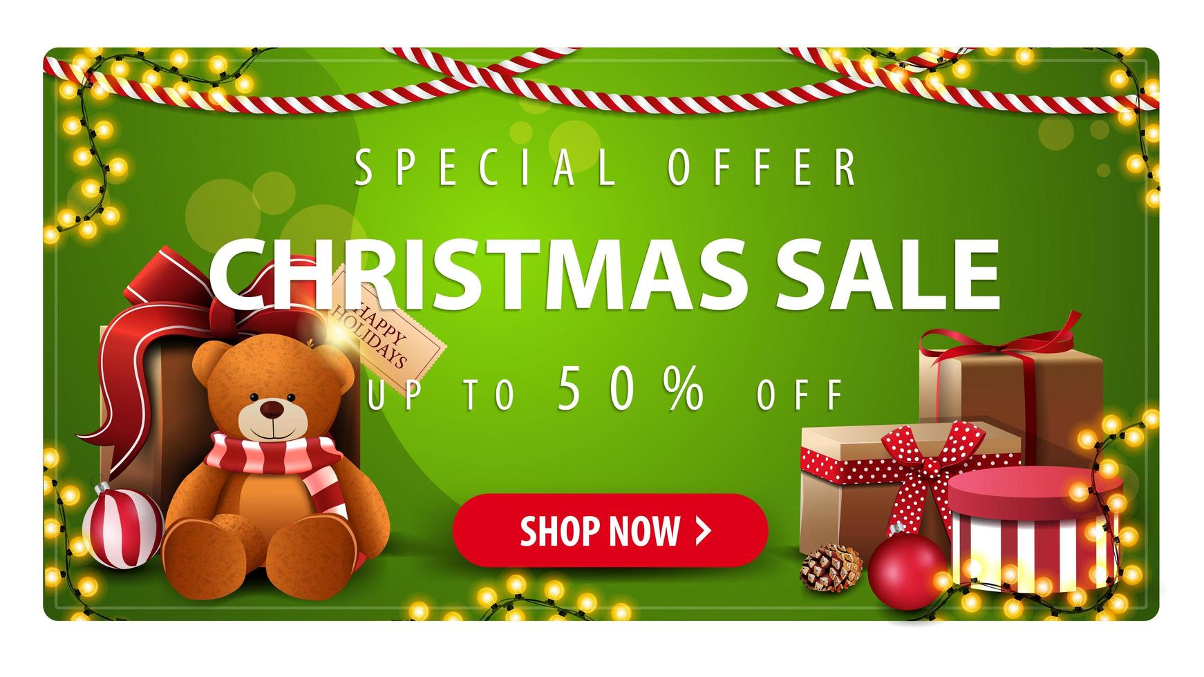 Special offer, Christmas sale, up to 50 off, horizontal green banner with button, garlands and presents with Teddy bear vector
