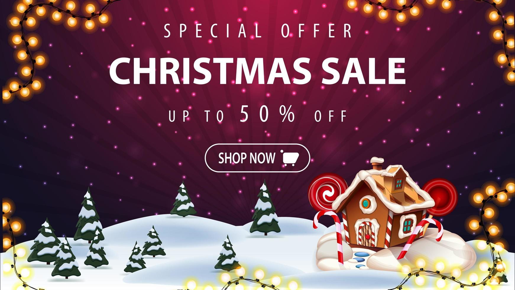 Special offer, Christmas sale, up to 50 off, beautiful purple discount banner with cartoon winter landscape on background and Christmas gingerbread house vector