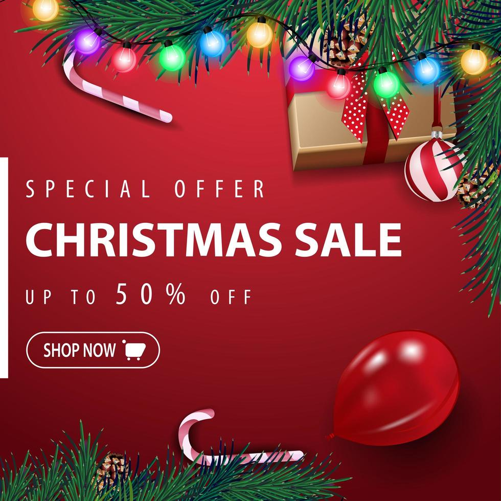 Special offer, Christmas sale, up to 50 off, red square discount banner with garland, Christmas tree, ball, balloon, present and candy can, top view vector