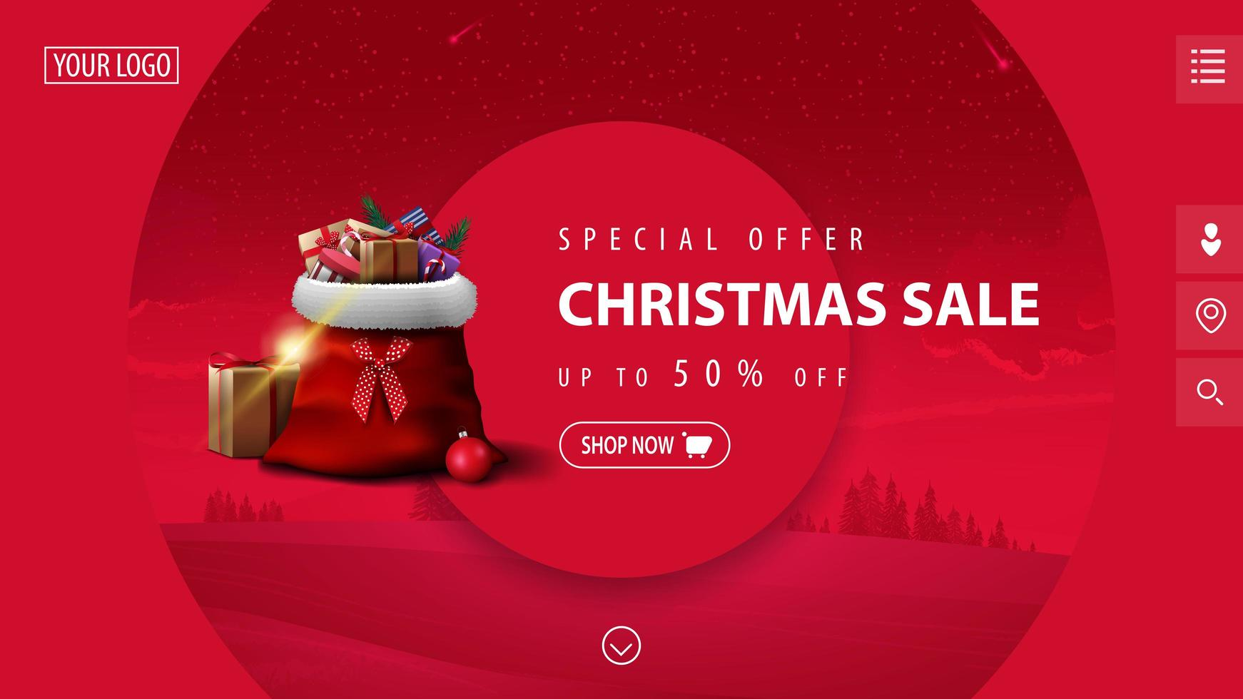 Special offer, Christmas sale, up to 50 off, beautiful pink modern discount banner with big decorative circles, winter landscape on background and Santa Claus bag with presents vector