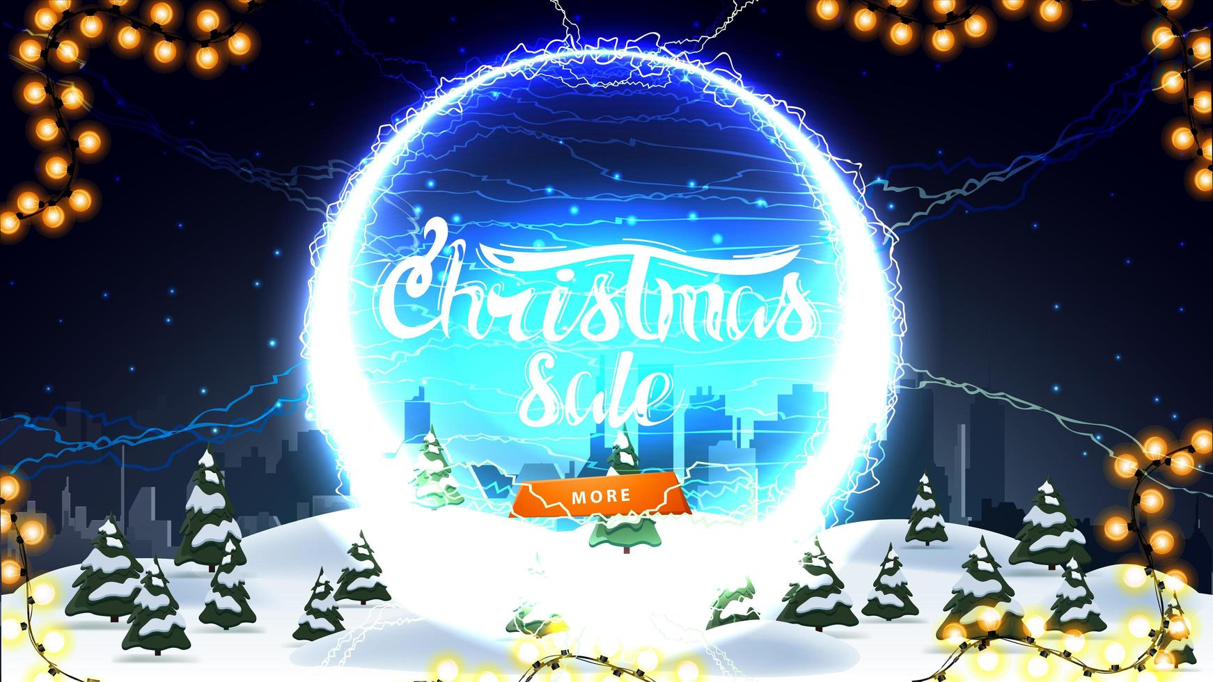 Christmas sale, discount banner with winter landscape, starry sky, button and round portal with lightning bolts and offer vector