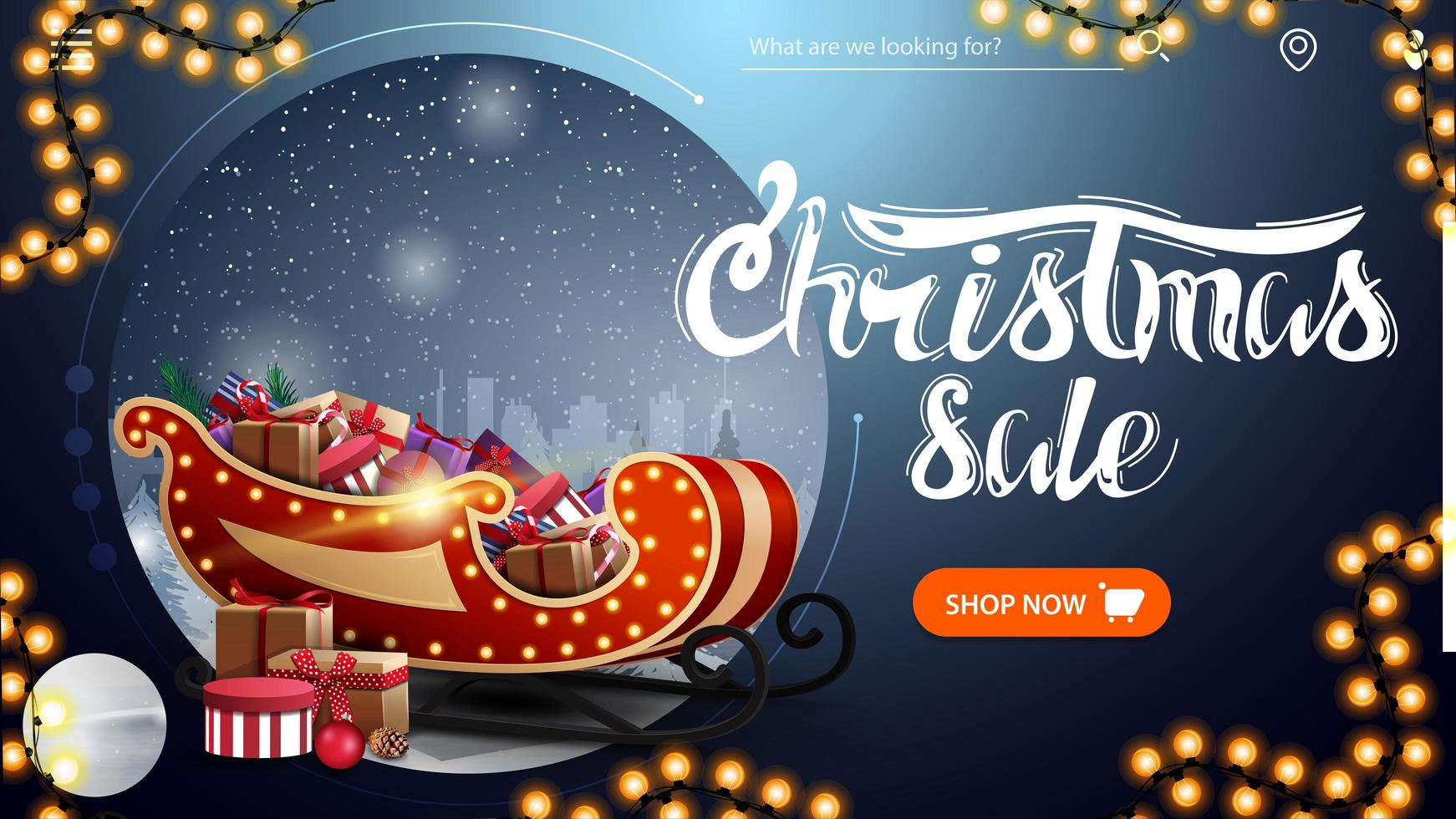 Christmas sale, beautiful blue modern discount banner with winter landscape, button, garland and Santa Sleigh with presents vector