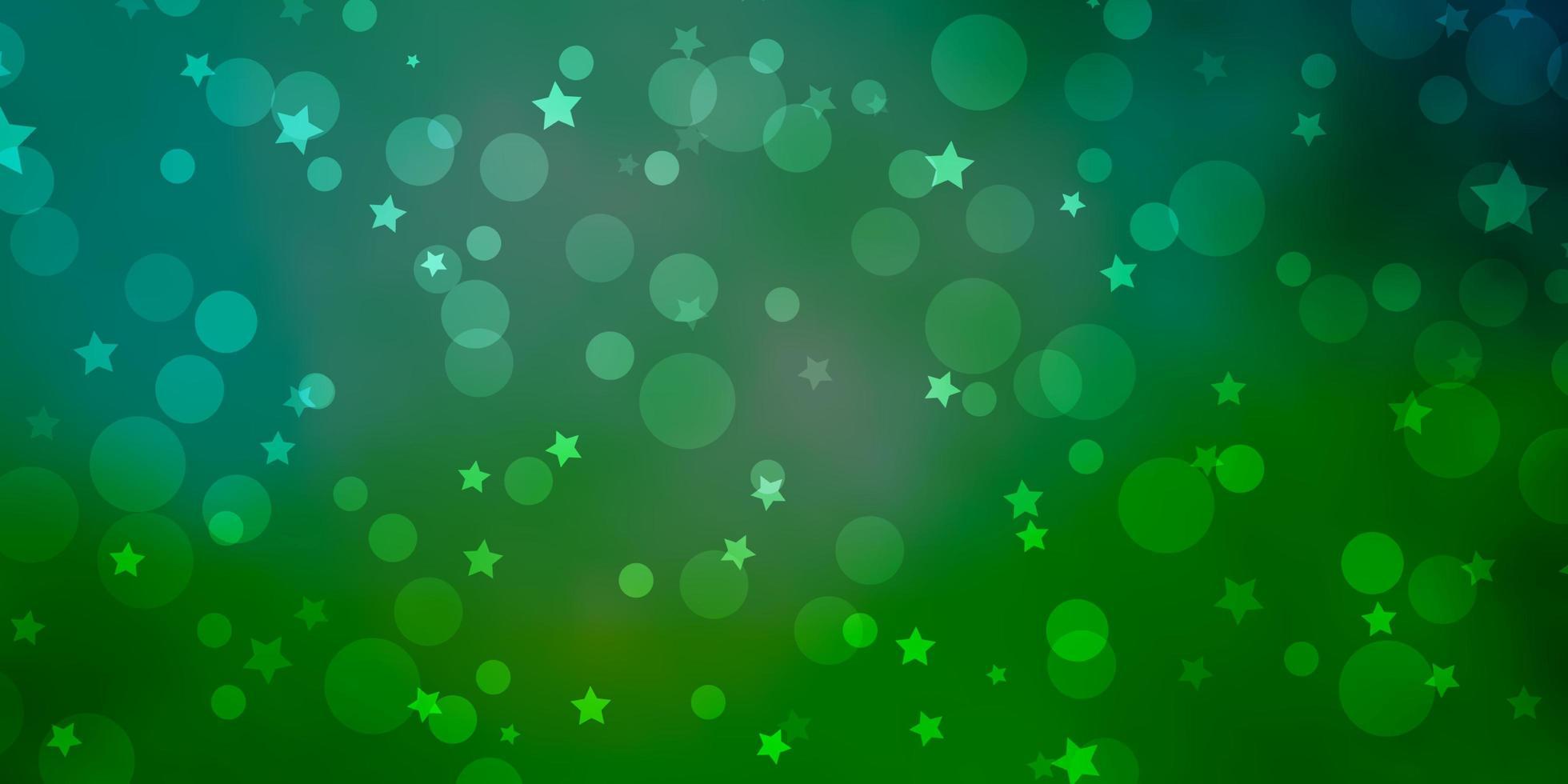 Telón de fondo de vector verde claro con círculos, estrellas.