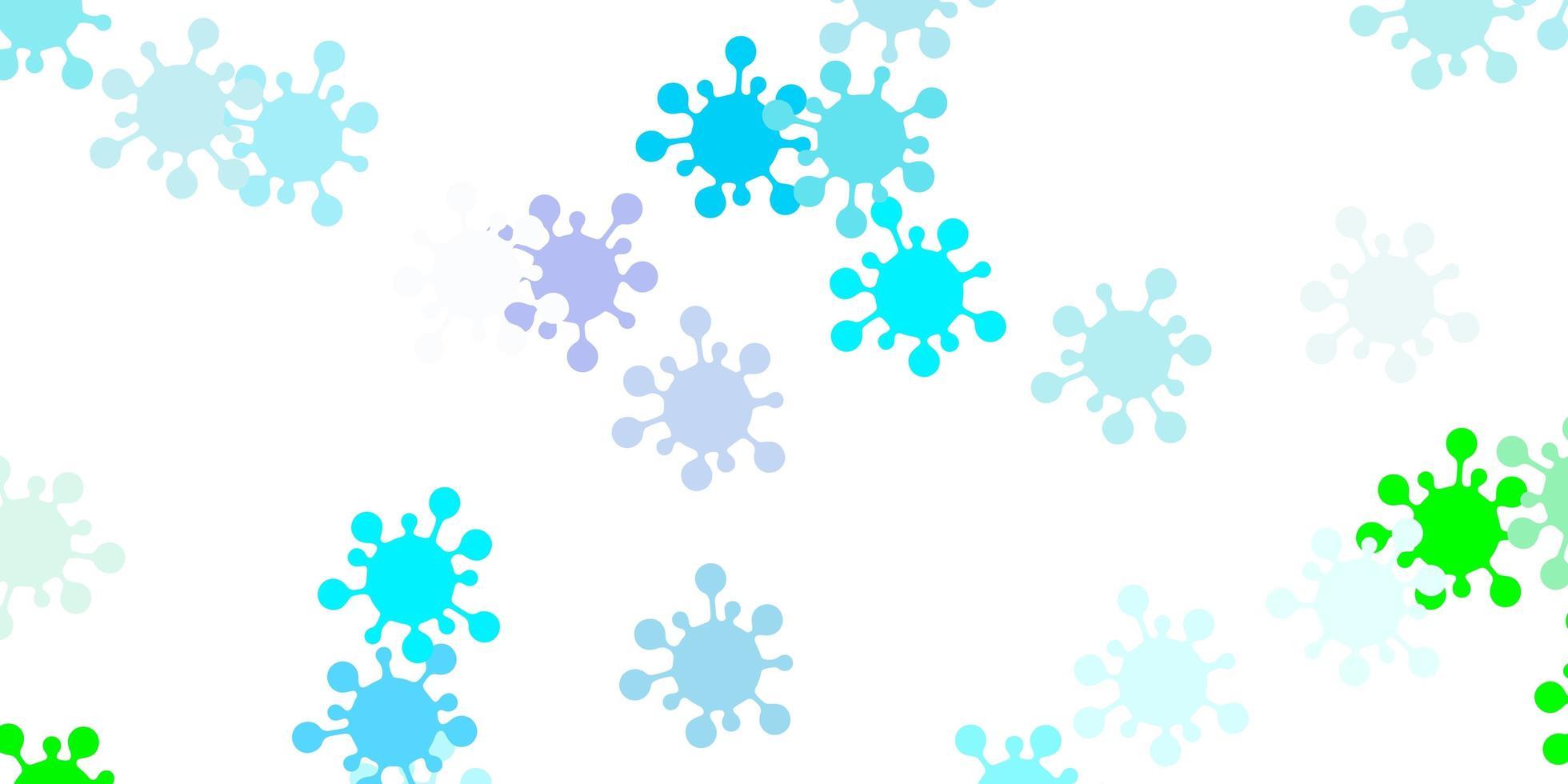 textura de vector azul claro, verde con símbolos de enfermedades.