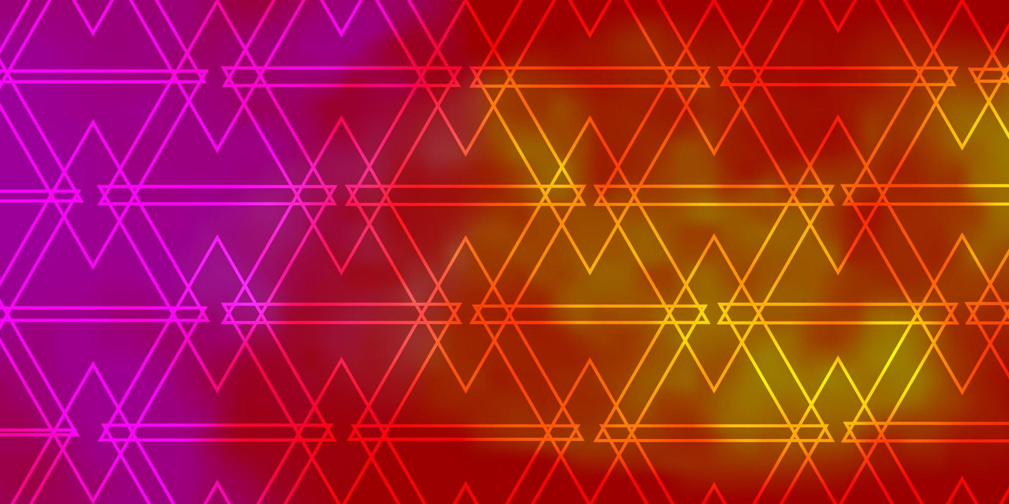 Light Pink, Yellow vector backdrop with lines, triangles.