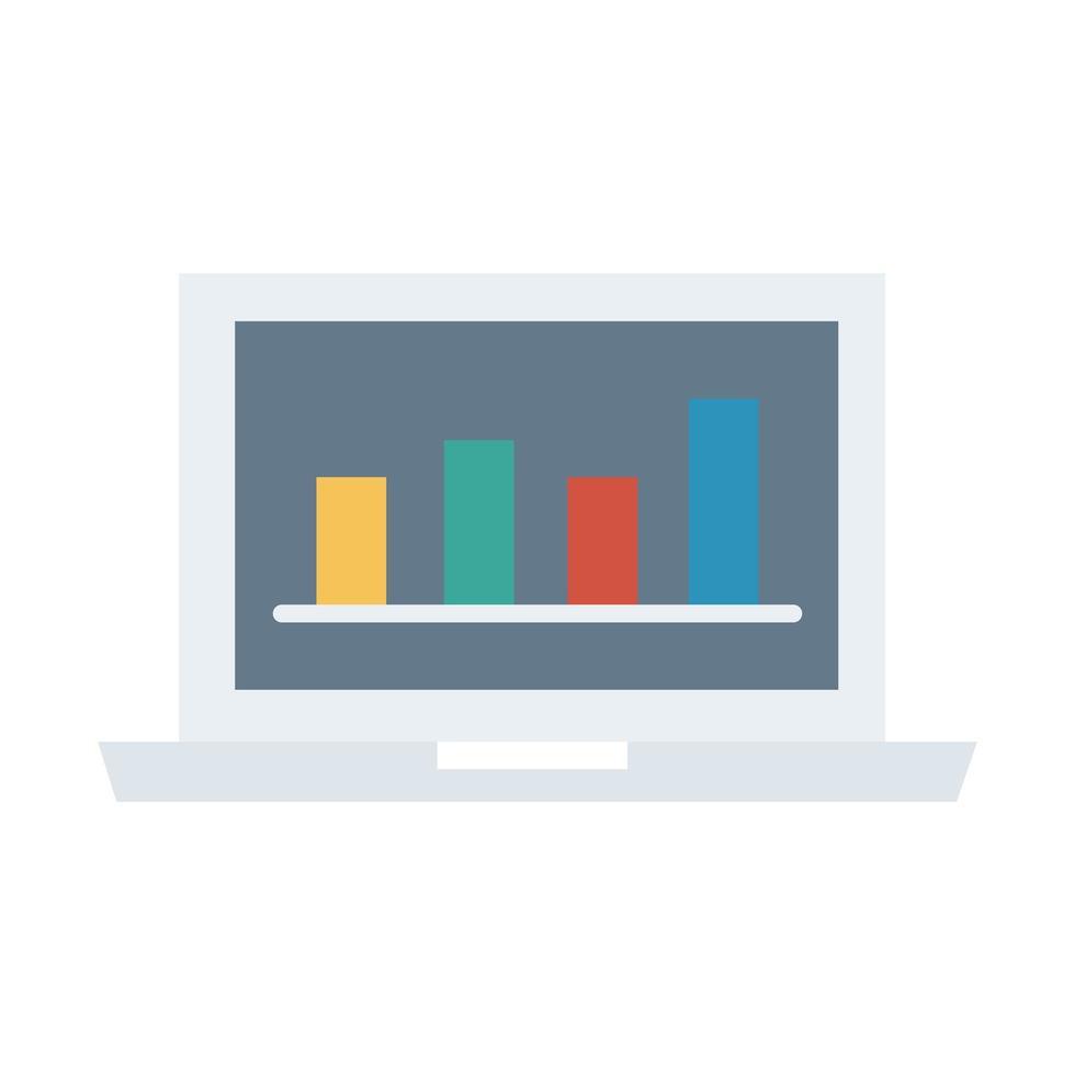 computadora portátil portátil con barras de estadísticas icono de estilo plano vector