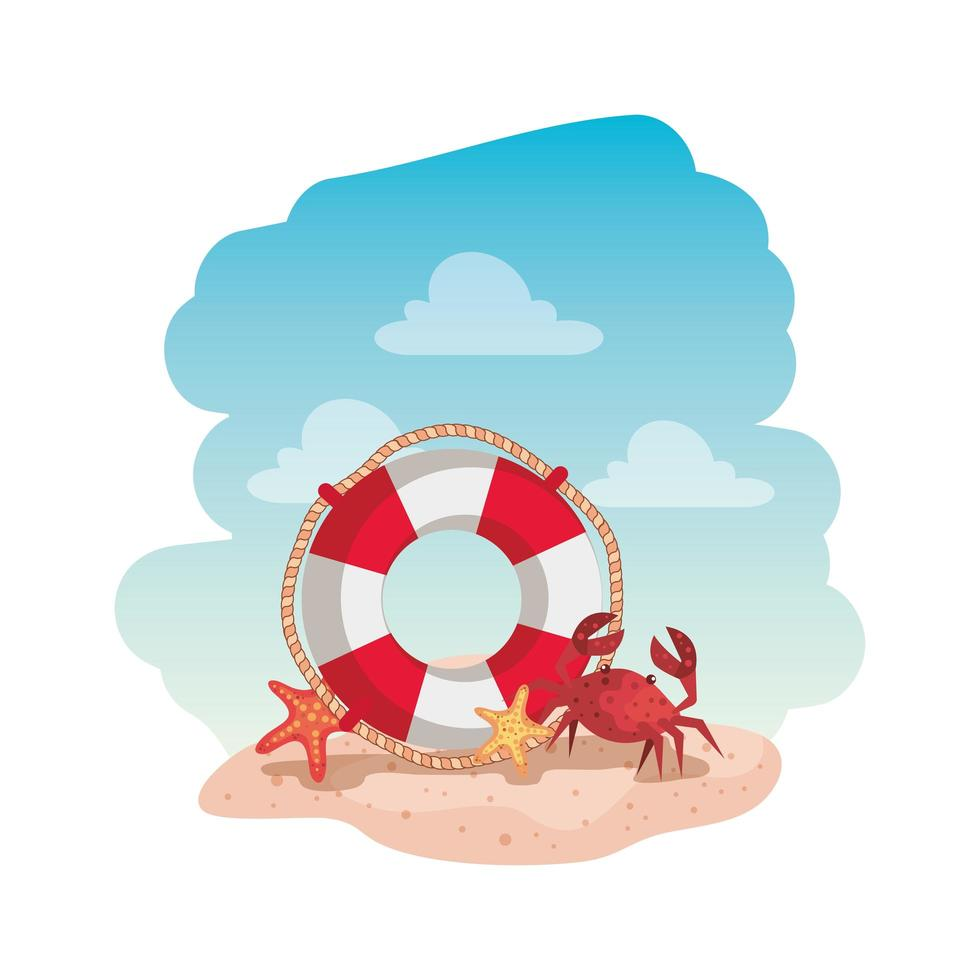 marine float with crab and starfish vector