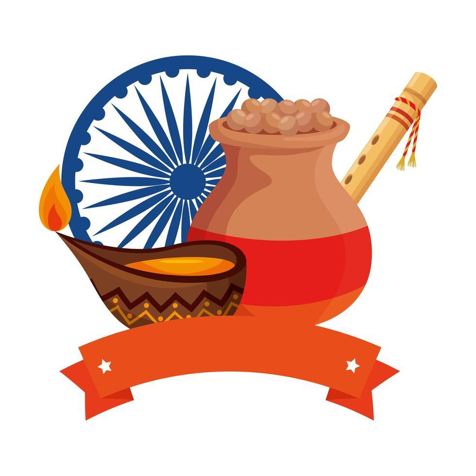 Jarra de cerámica india con comida e iconos decorativos vector