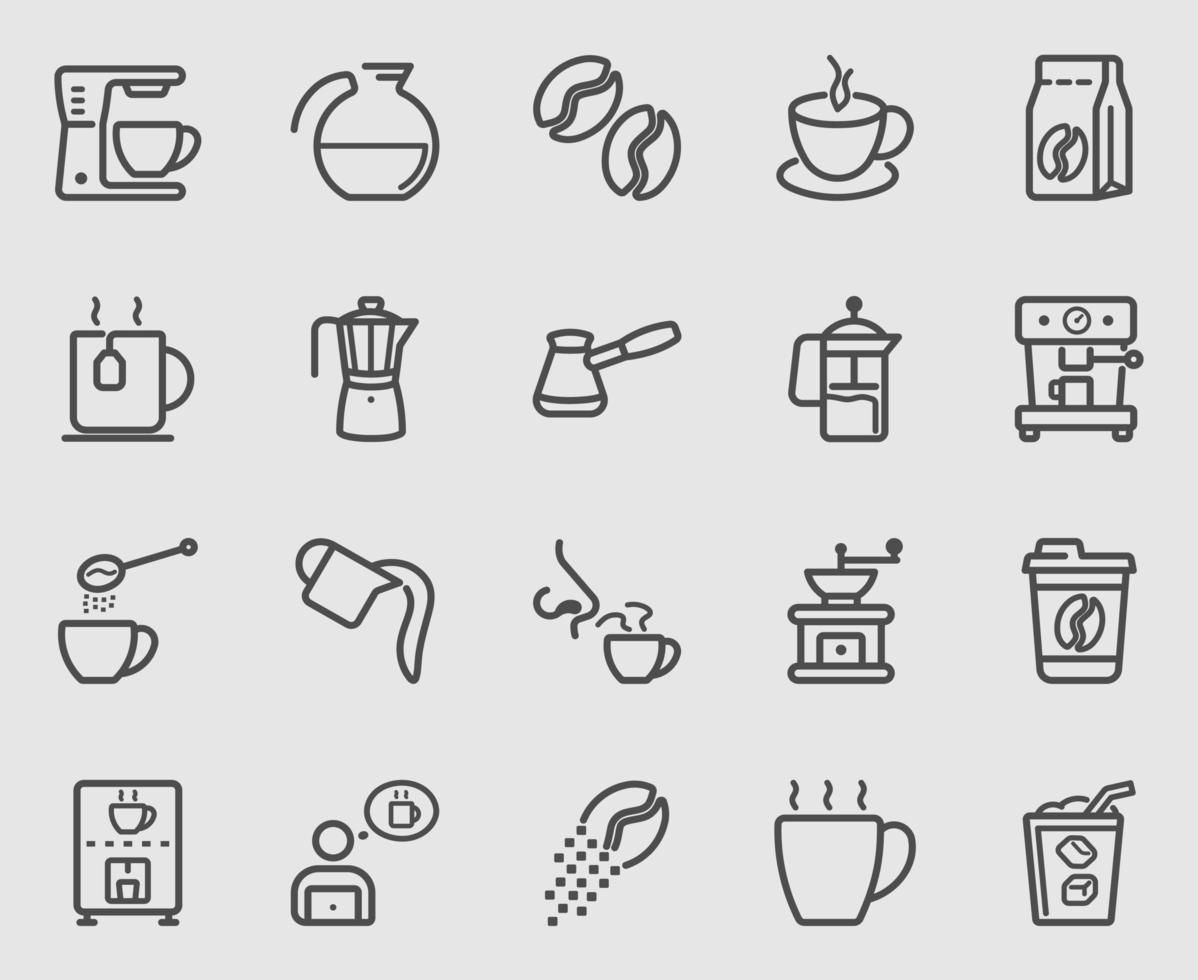 conjunto de iconos de línea de café vector