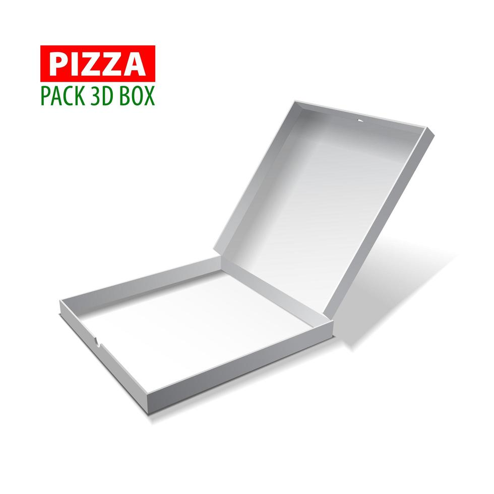 Cardboard white 3d box for pizza, vector illustration isolated on white