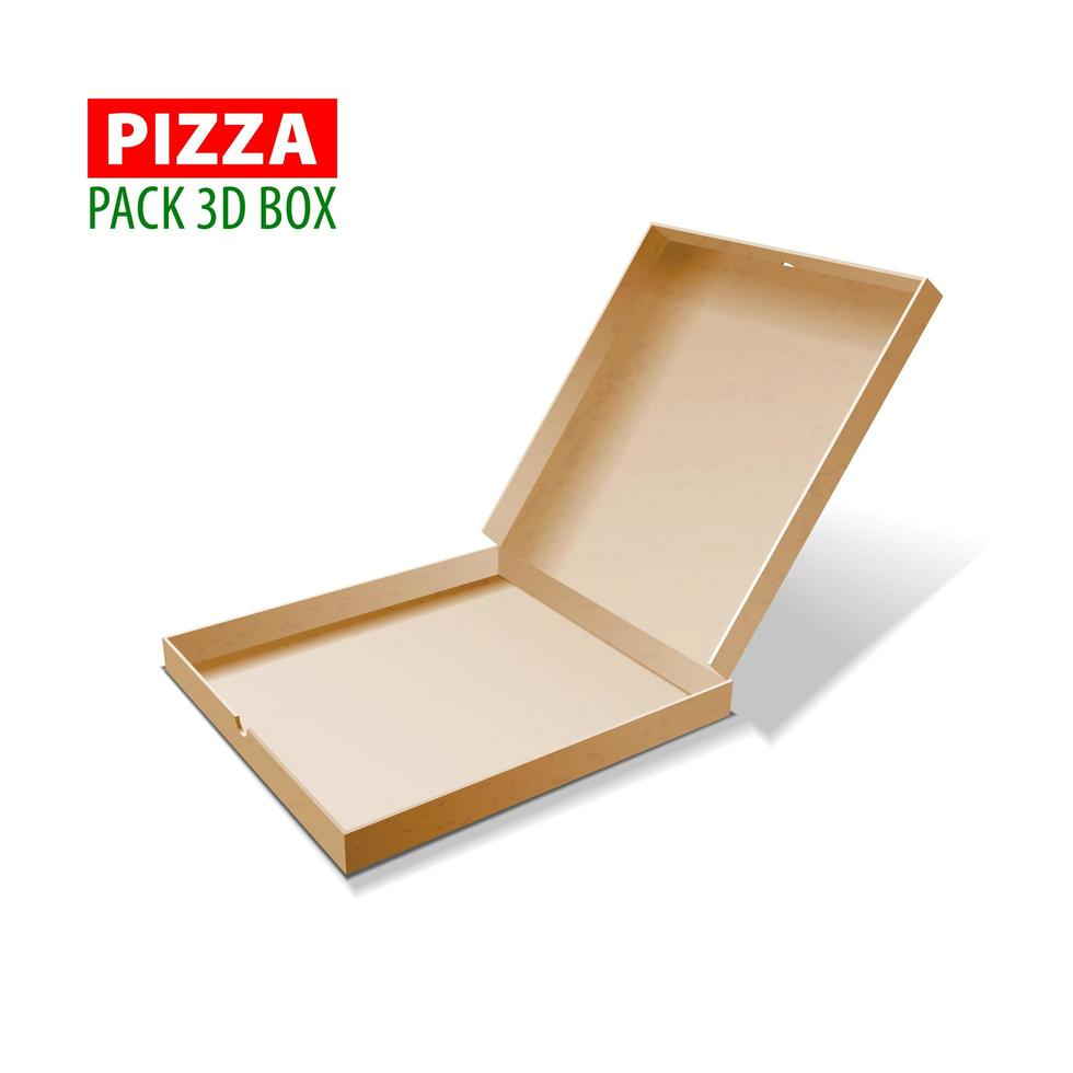 Cardboard 3d box for pizza, vector illustration isolated on white