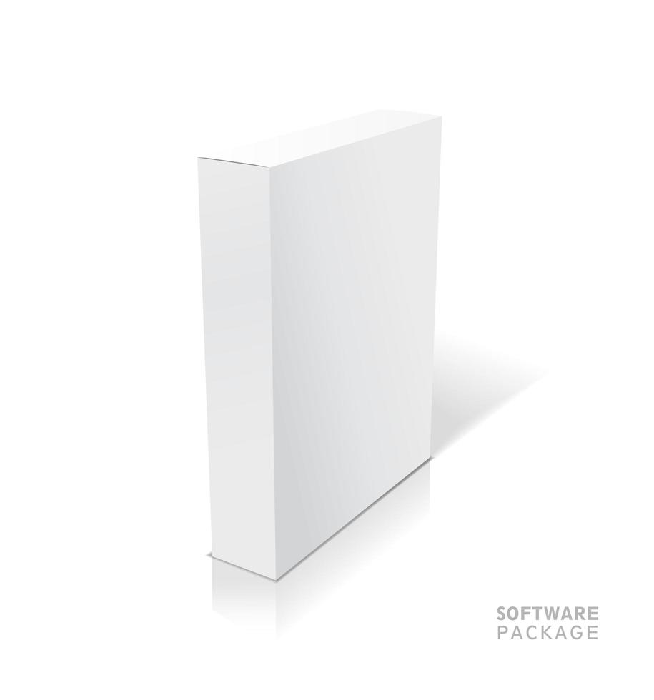 Realistic white vector opened blank box illustration with shadows.
