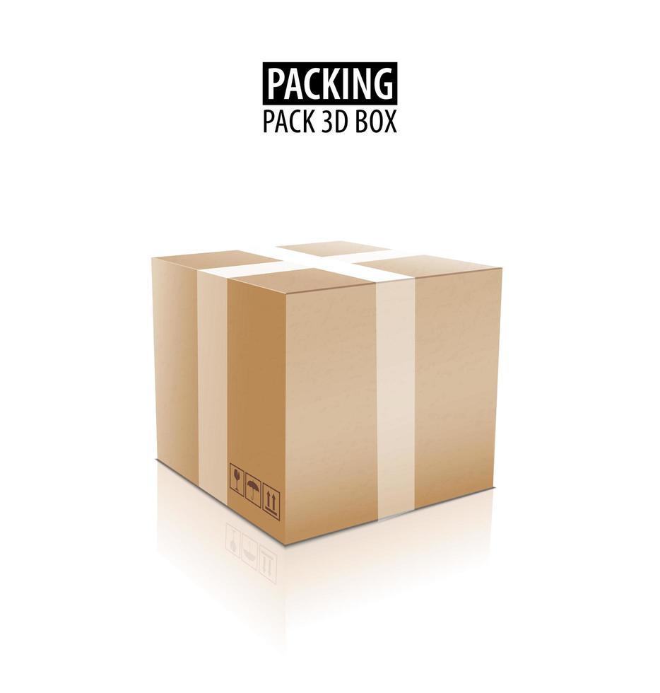 Caja 3d de embalaje de entrega de cartón cerrado marrón con signos frágiles aislados en la ilustración de vector de fondo blanco.