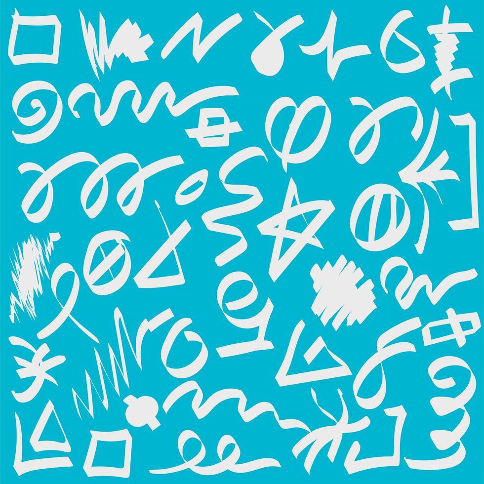 Color brushstrokes hand drawn set vector