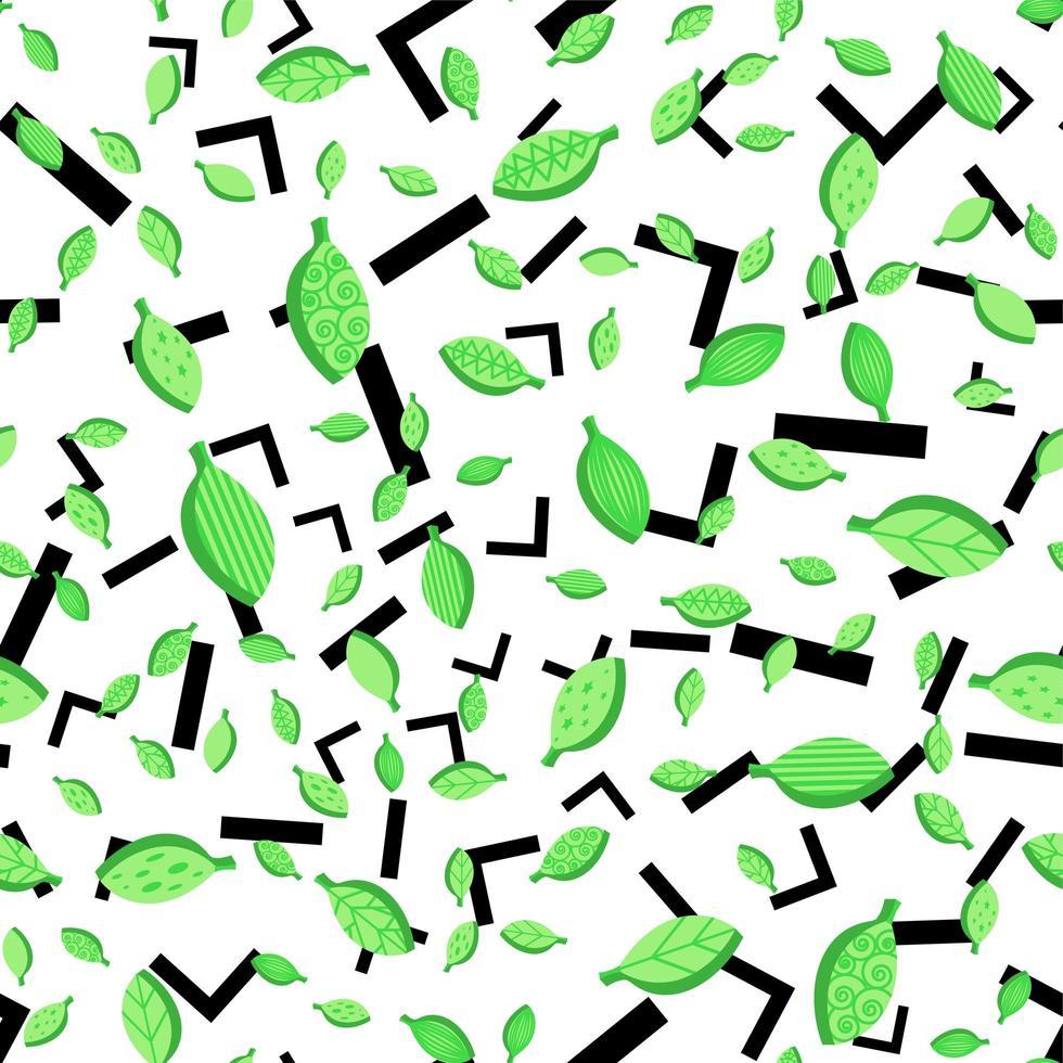 primavera, estilizado, hojas, seamless, vector, patrón vector