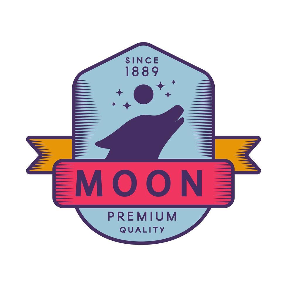Moon color retro logo template vector