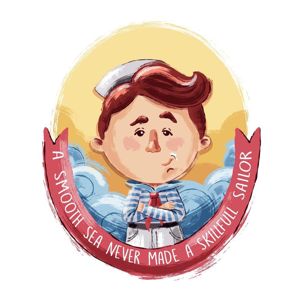 Watercolor Style Little Brave Sailor vector