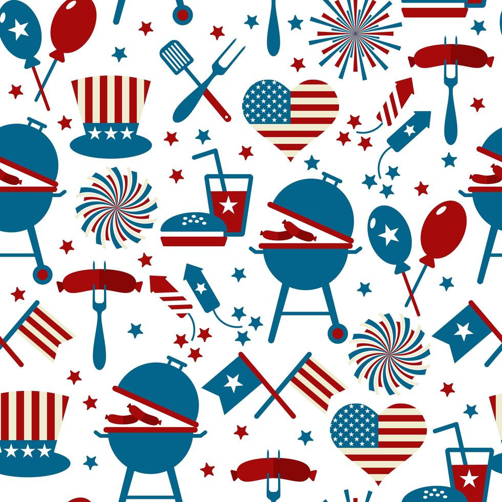 Fourth of July Party and memorial day icons. Seamless pattern. vector