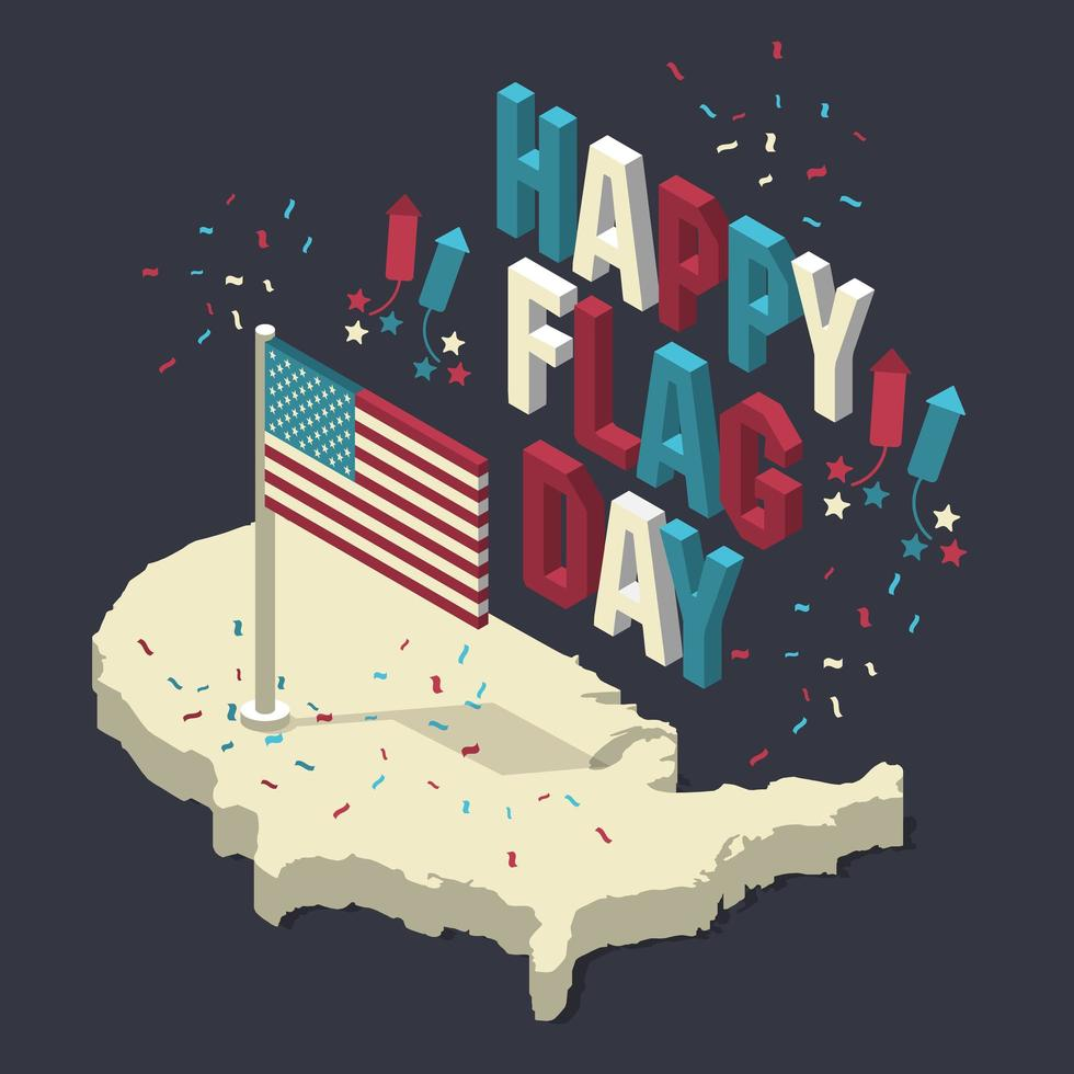 Happy memorial day. Isometric composition with flag. Vector illustration