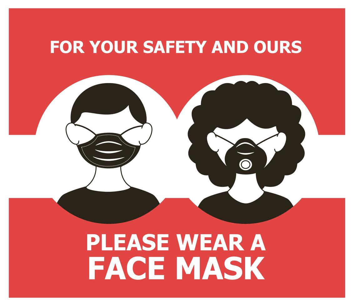 mask required banner with couple wearing masks vector