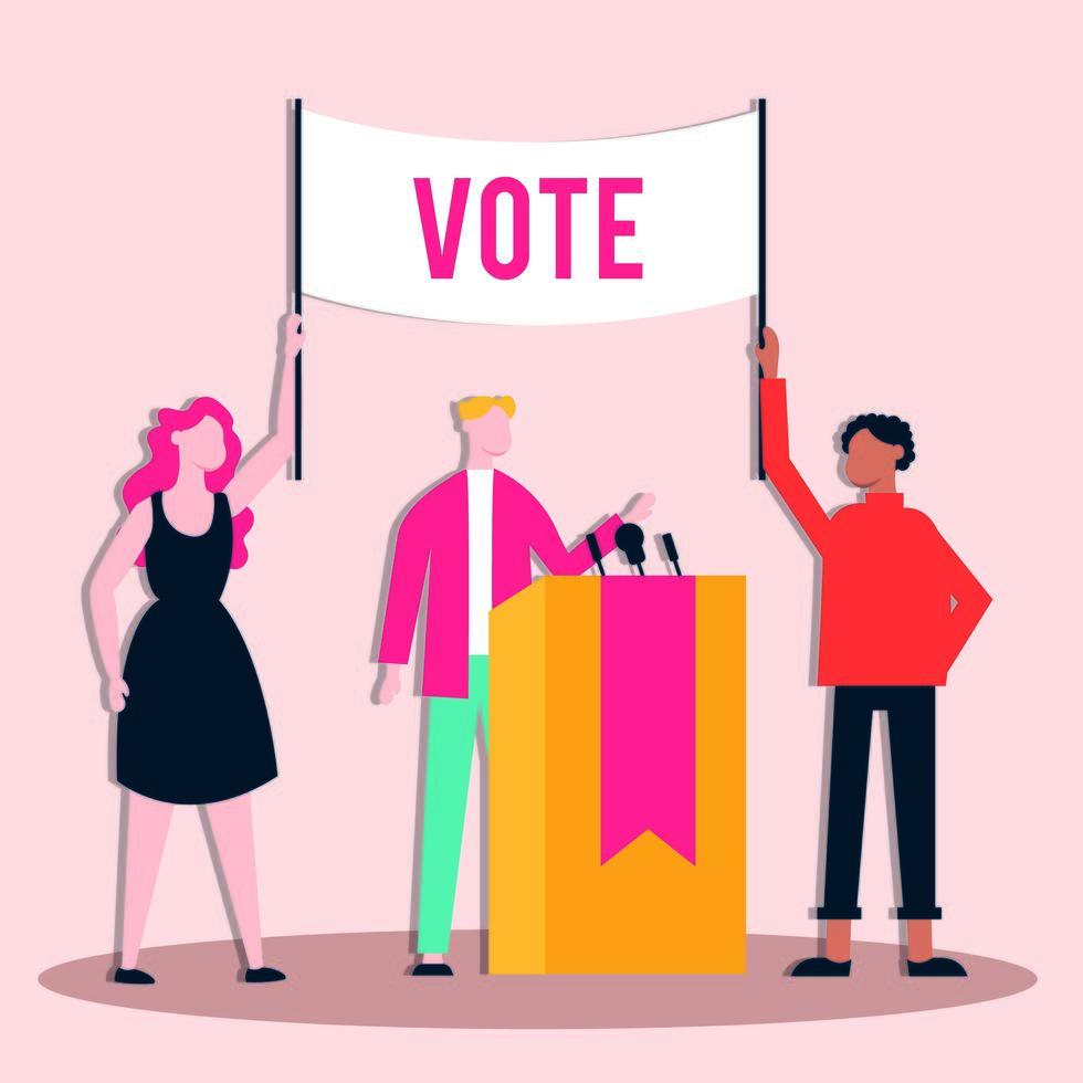 democracia del día de las elecciones con votantes y candidatos masculinos dando un discurso vector