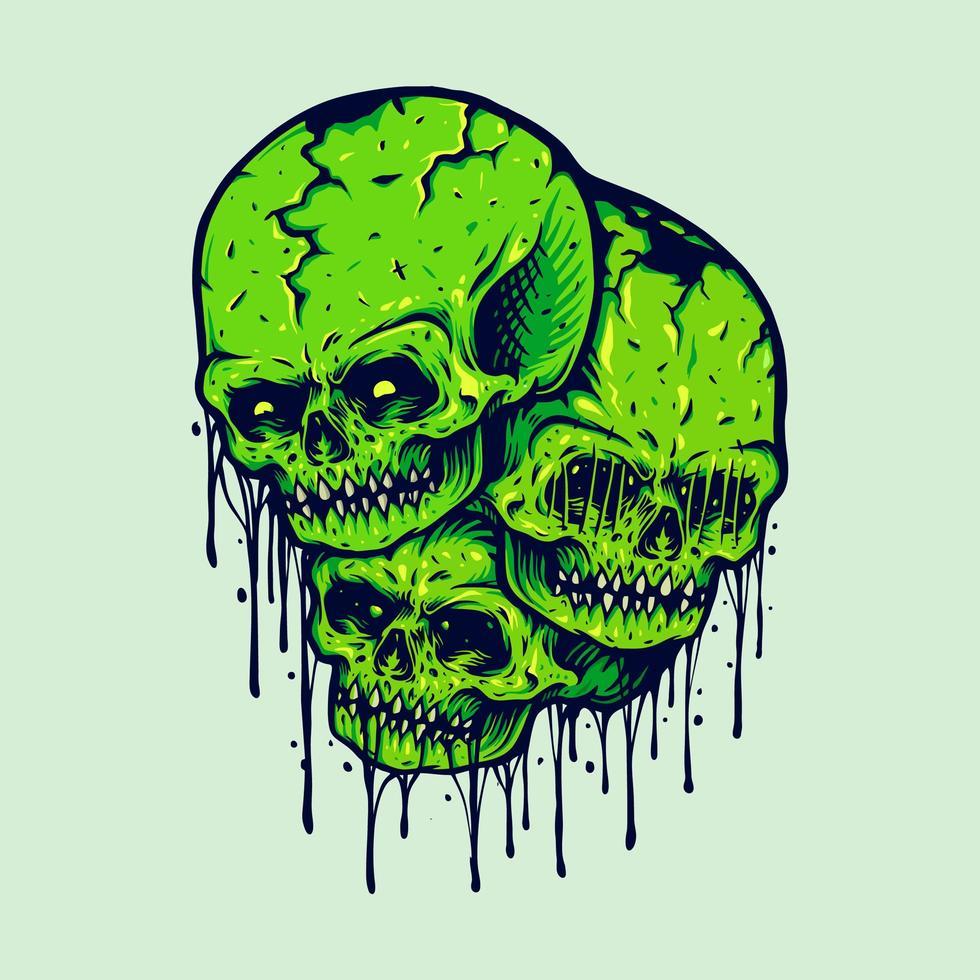 family zombie skull illustration vector