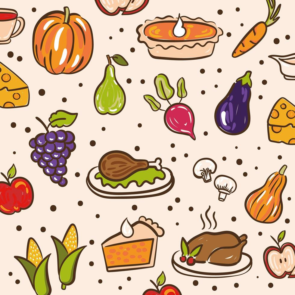 bundle of thanksgiving day pattern with cute icons vector