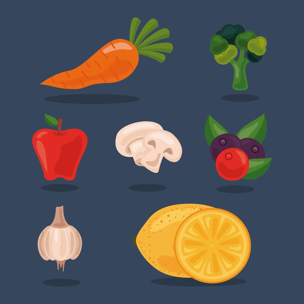 bundle of seven fresh fruits and vegetables, healthy food set icons vector