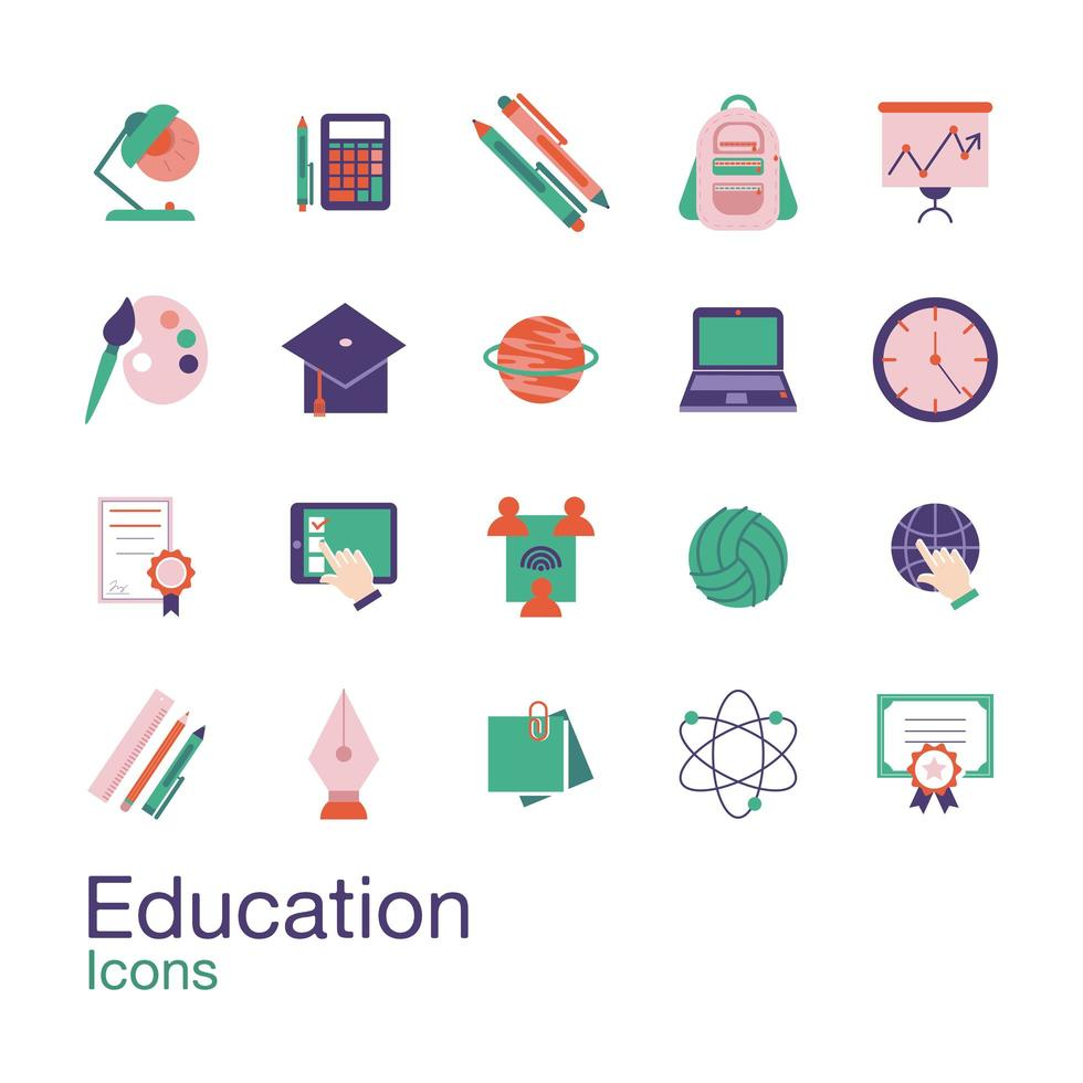 School and education flat-style icon set vector