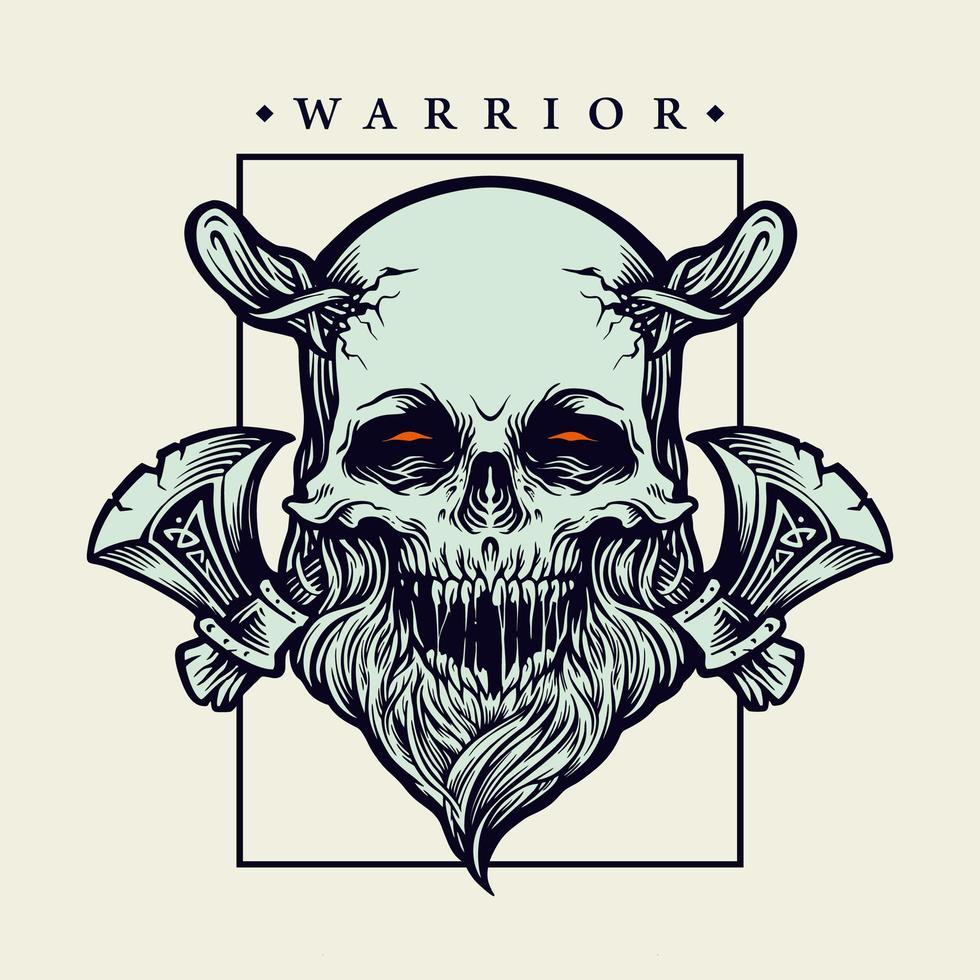 Viking skull Warrior with axes vector illustration