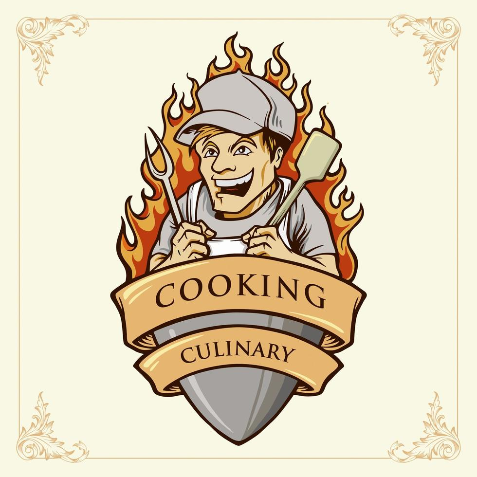 Cooking Man or Chef Smile Illustration with ribbon vector